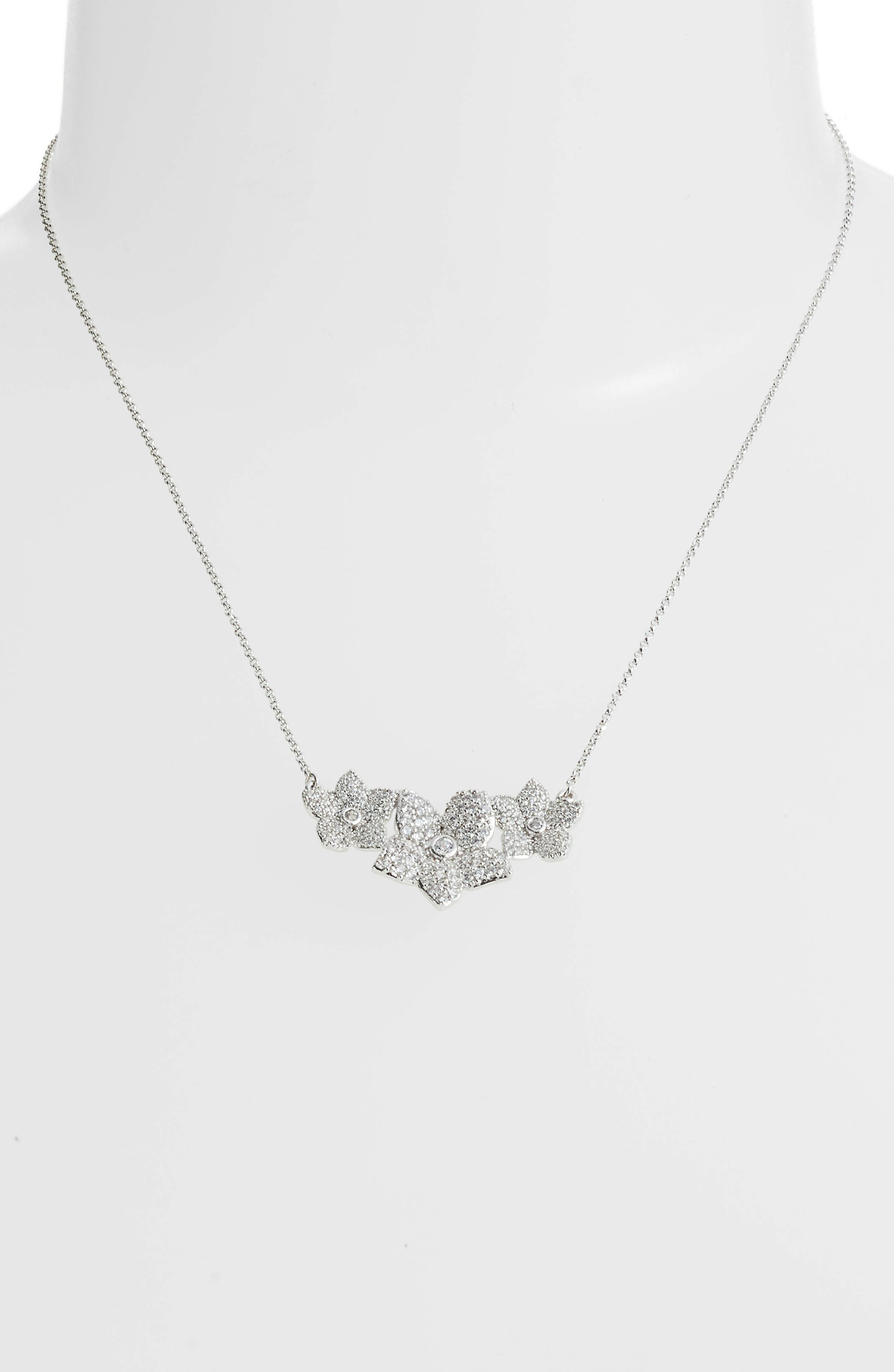 blooming pavé pendant necklace,                             Alternate thumbnail 2, color,                             Clear/ Silver