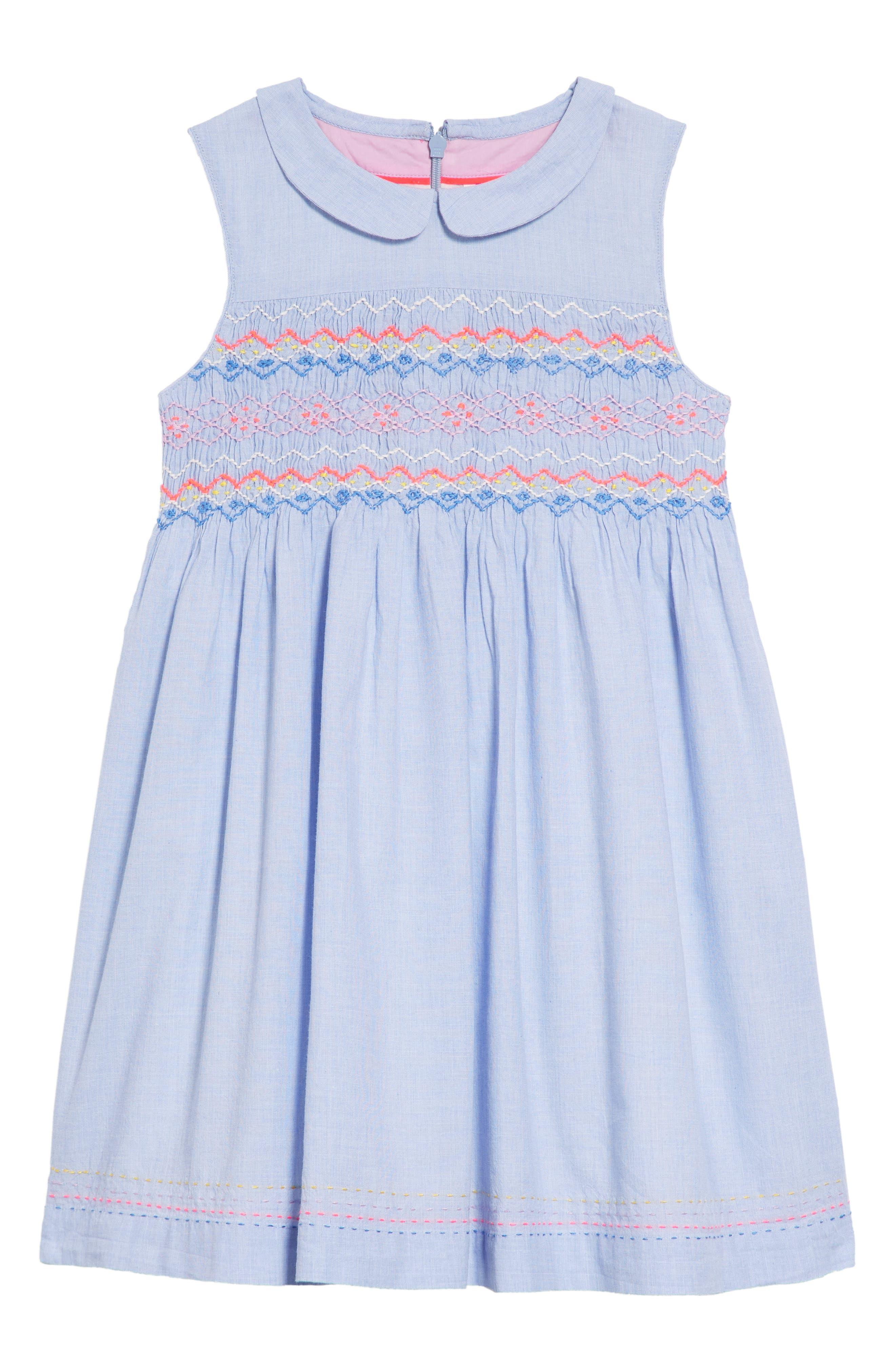 Nostalgic Smocked Dress,                         Main,                         color, Chambray Blue