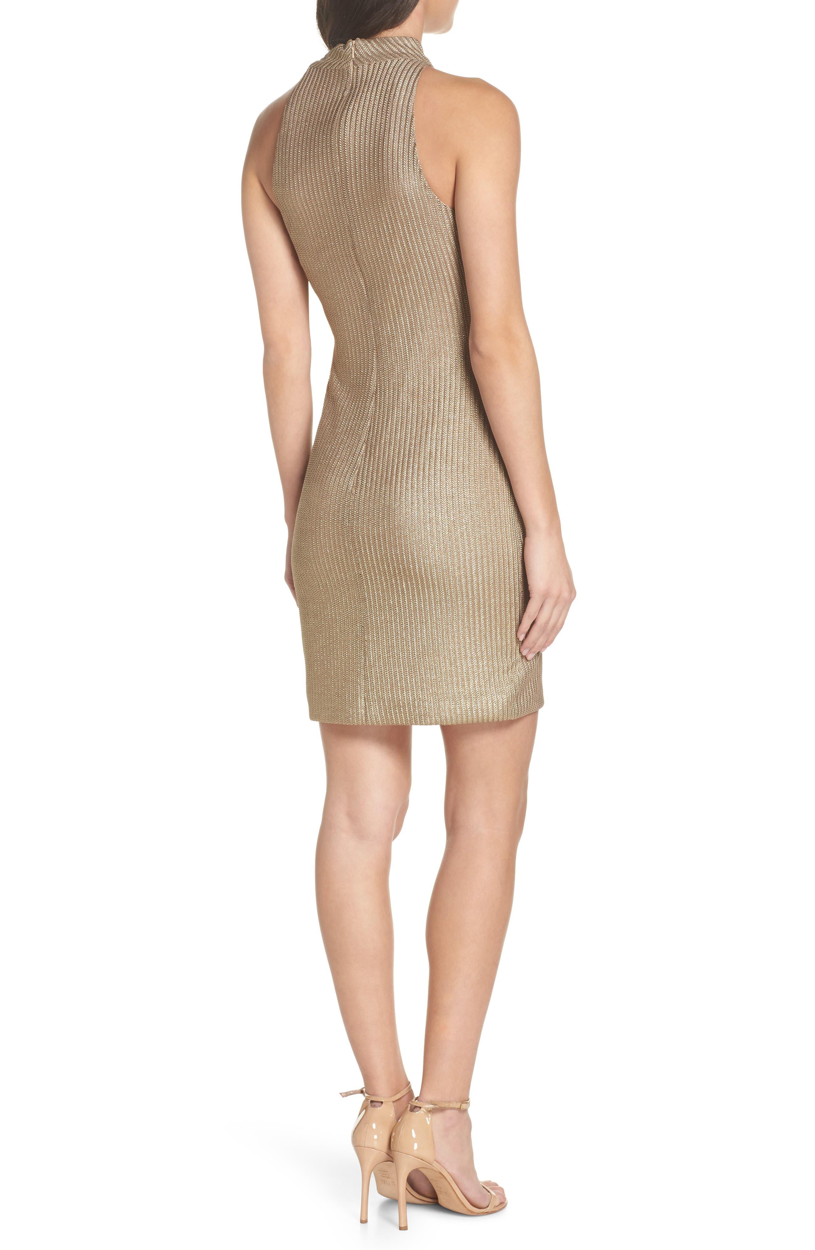Tie Neck Body-Con Dress,                             Alternate thumbnail 2, color,                             Gold
