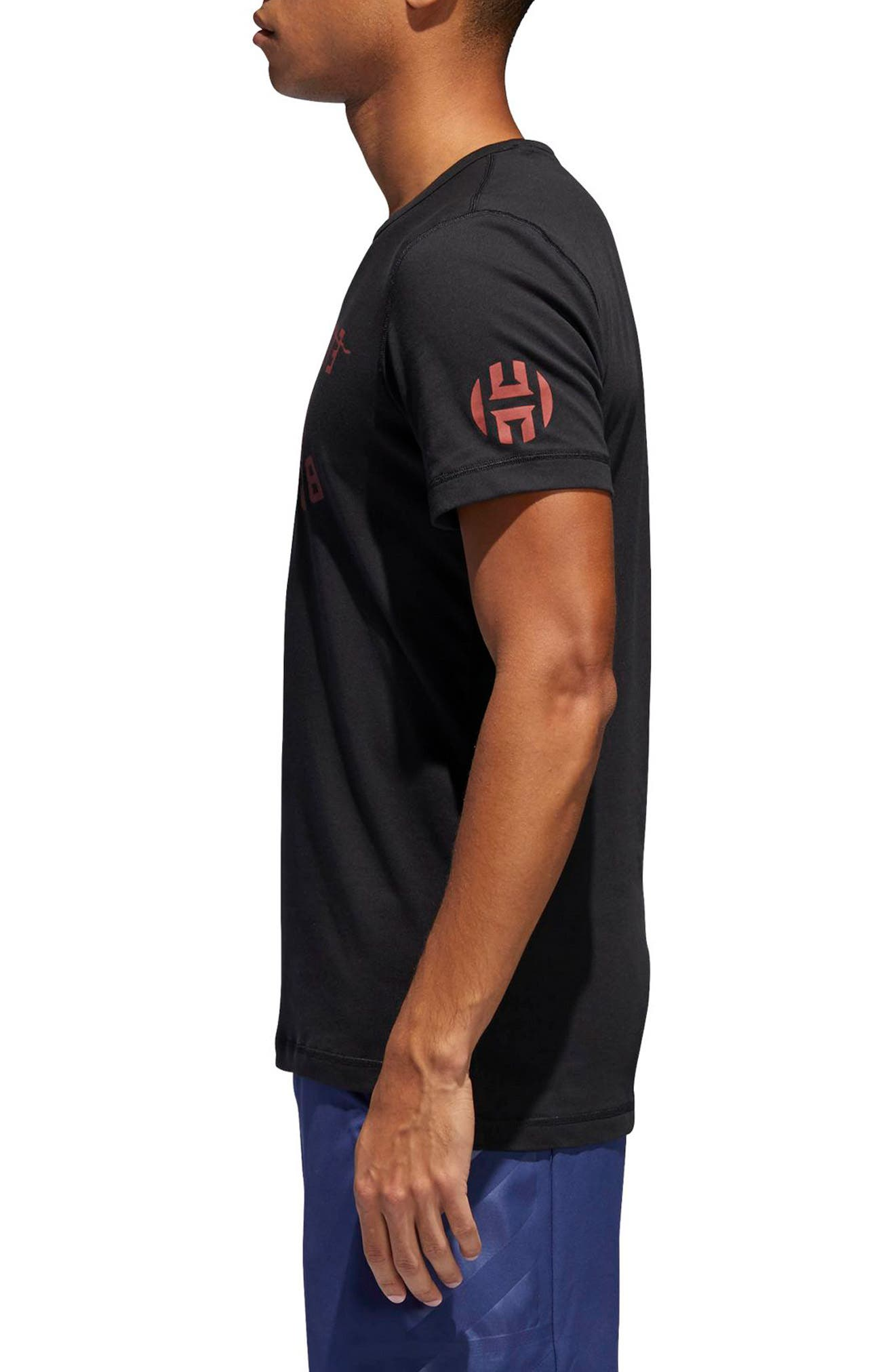 Harden Brand Slogan T-Shirt,                             Alternate thumbnail 3, color,                             Black