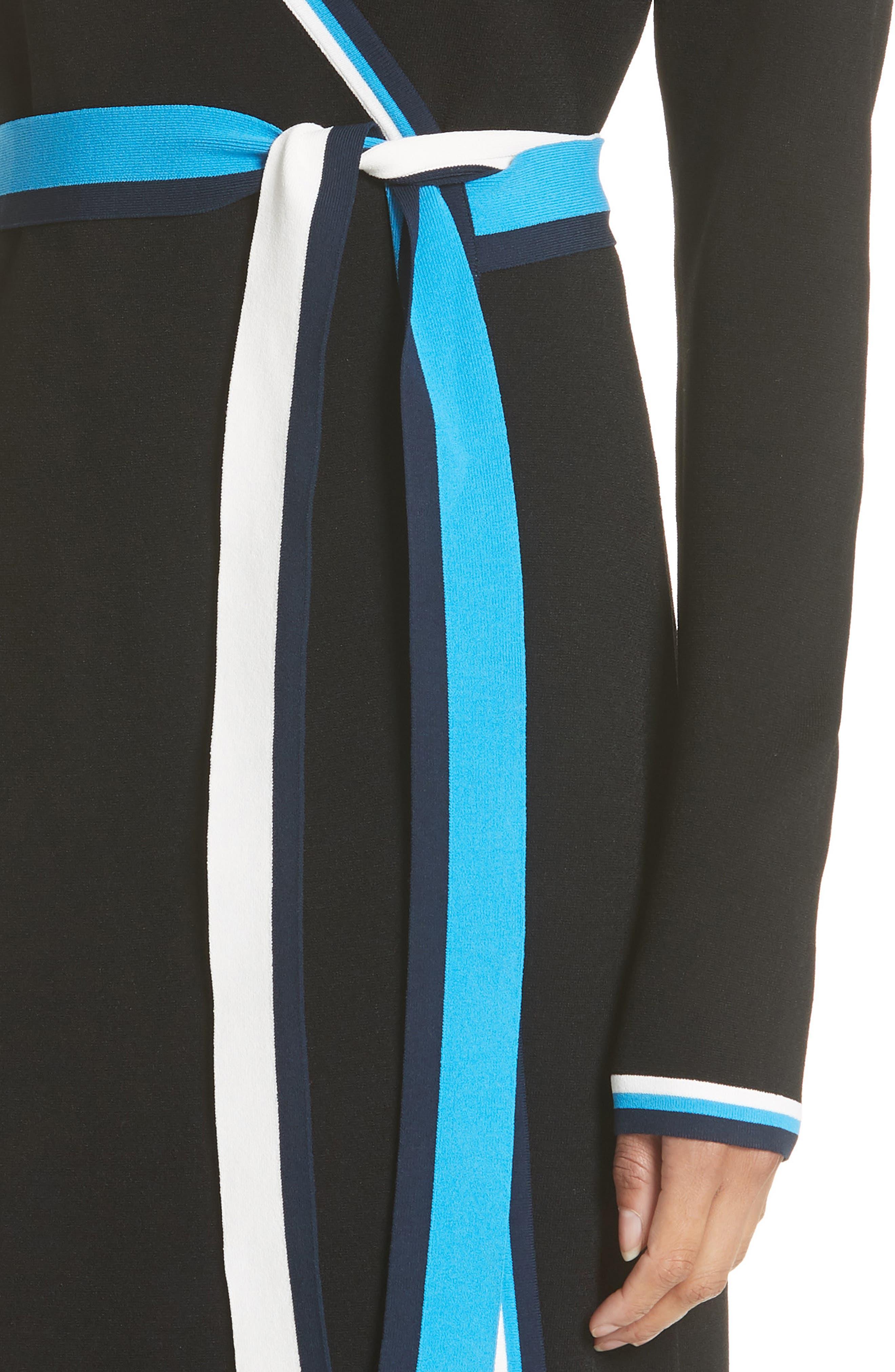 Diane von Furstenberg Wrap Sweater Dress,                             Alternate thumbnail 4, color,                             Laguna Multi