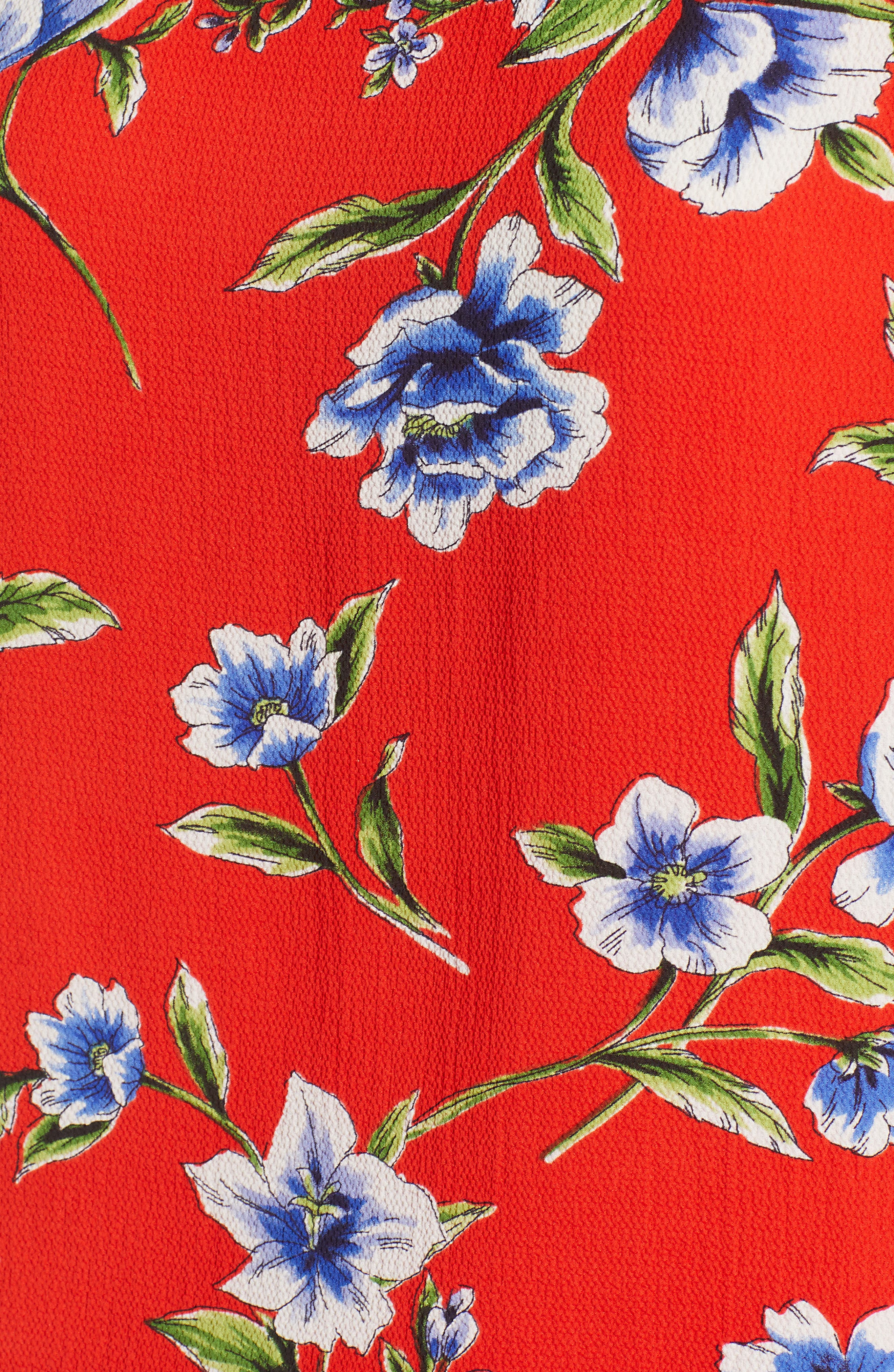 Ruffle Sleeve Print Top,                             Alternate thumbnail 4, color,                             Red Blossom Print