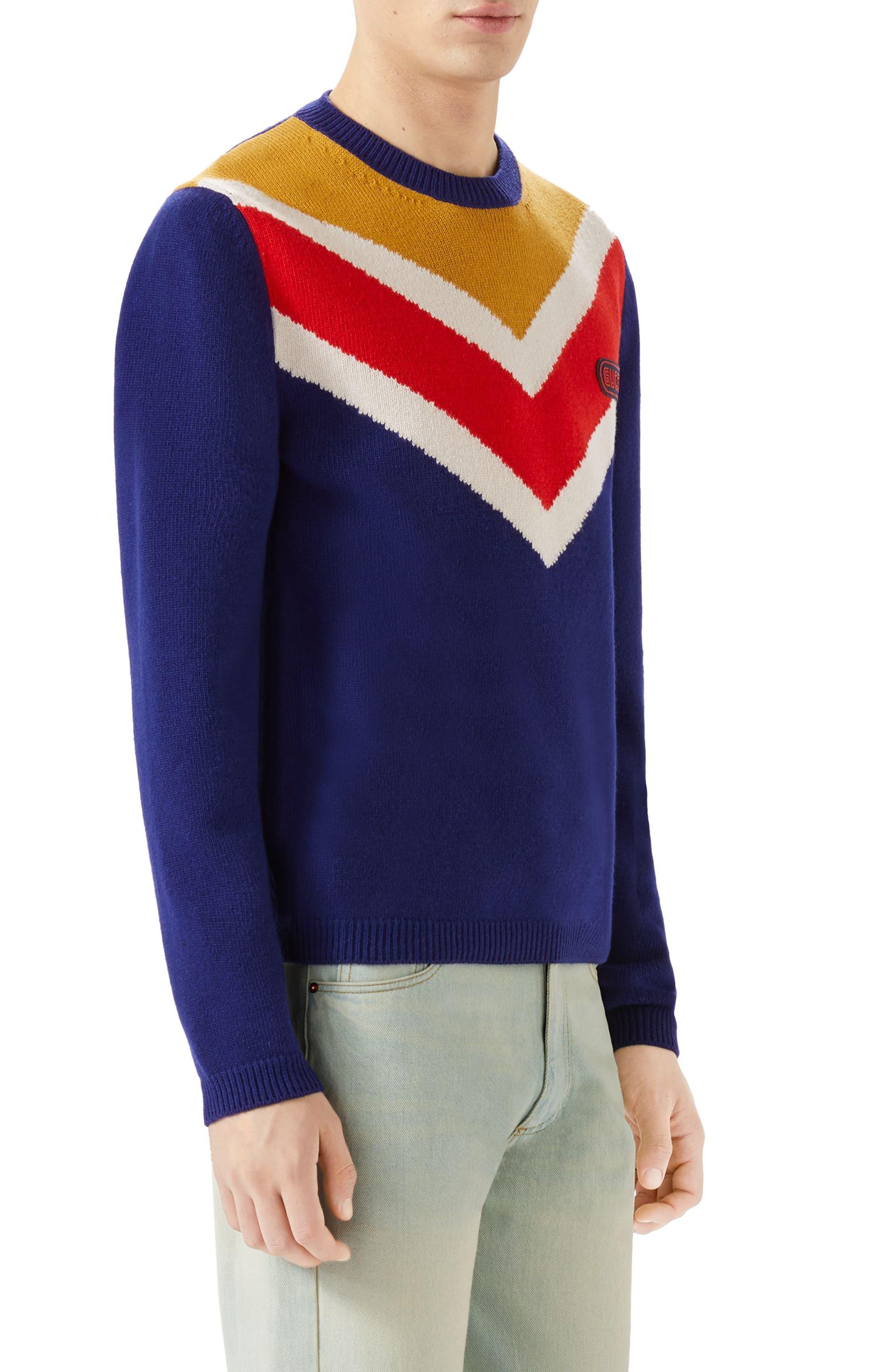 Intarsia V-Stripe Wool Sweater,                             Alternate thumbnail 3, color,                             Blue