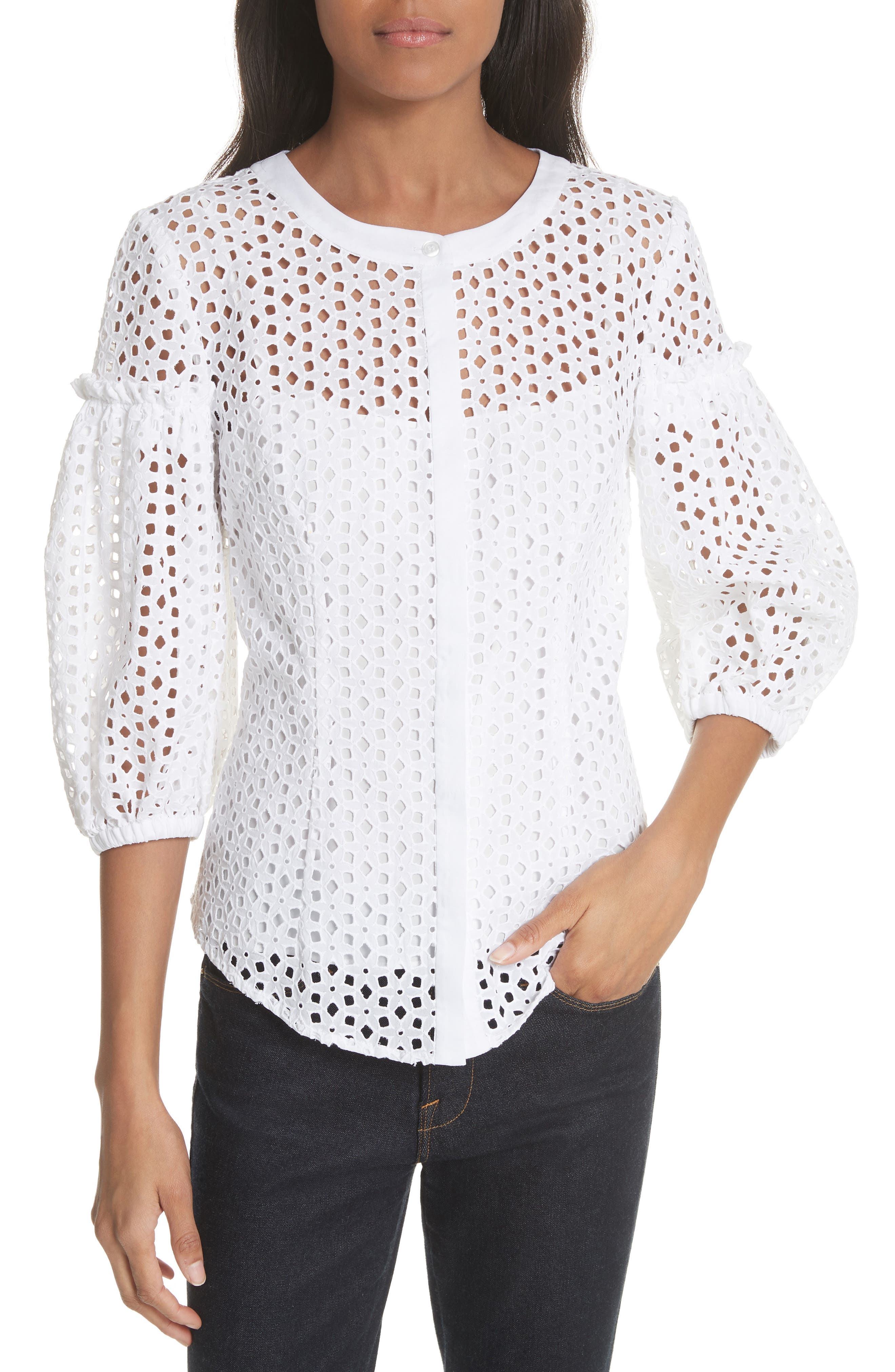 Milly Michelle Floral Cotton Eyelet Blouse
