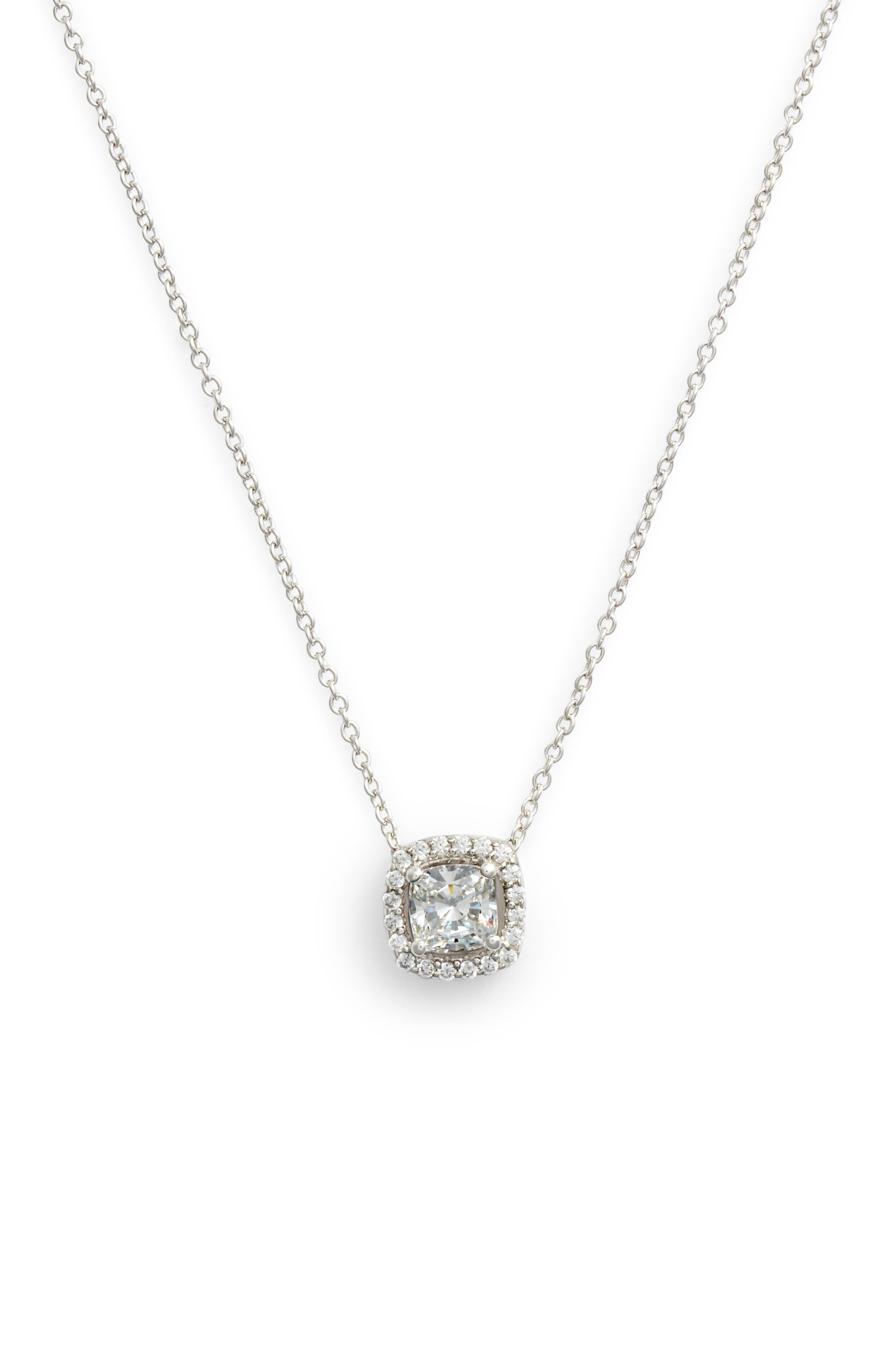 Cushion Cut Halo Necklace,                         Main,                         color, Silver/ Clear