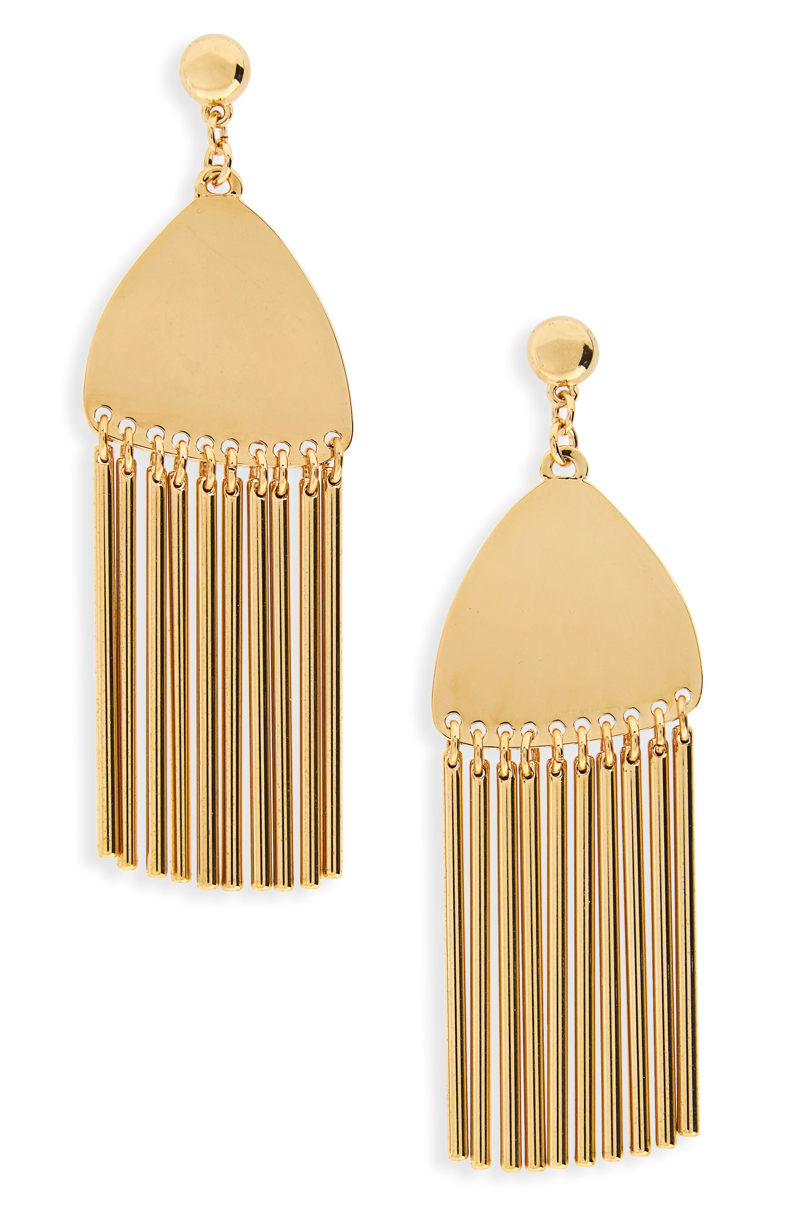 Comb Tassel Earrings,                         Main,                         color, Gold
