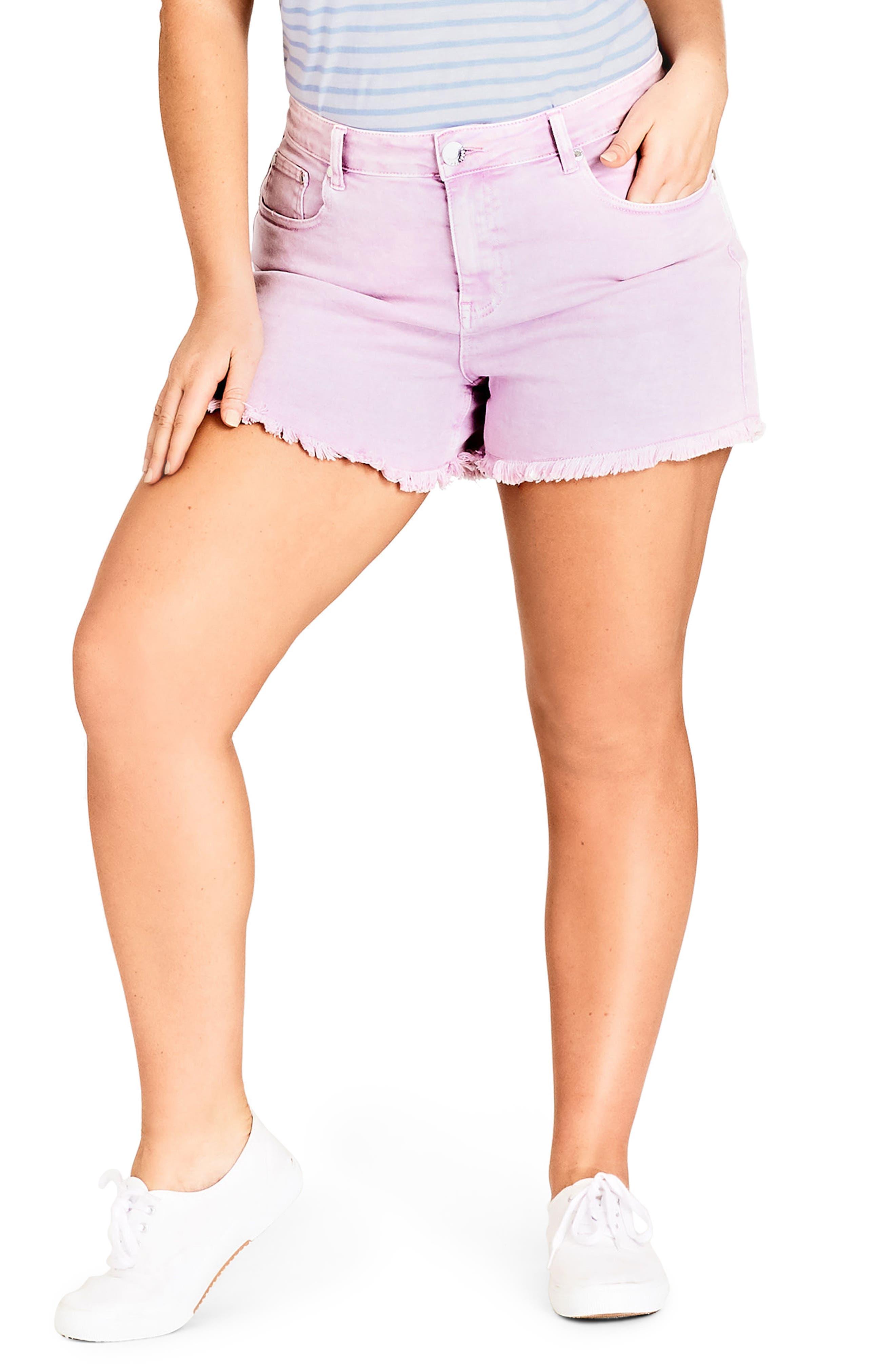 Fray Hem Denim Shorts,                             Main thumbnail 1, color,                             Lilac