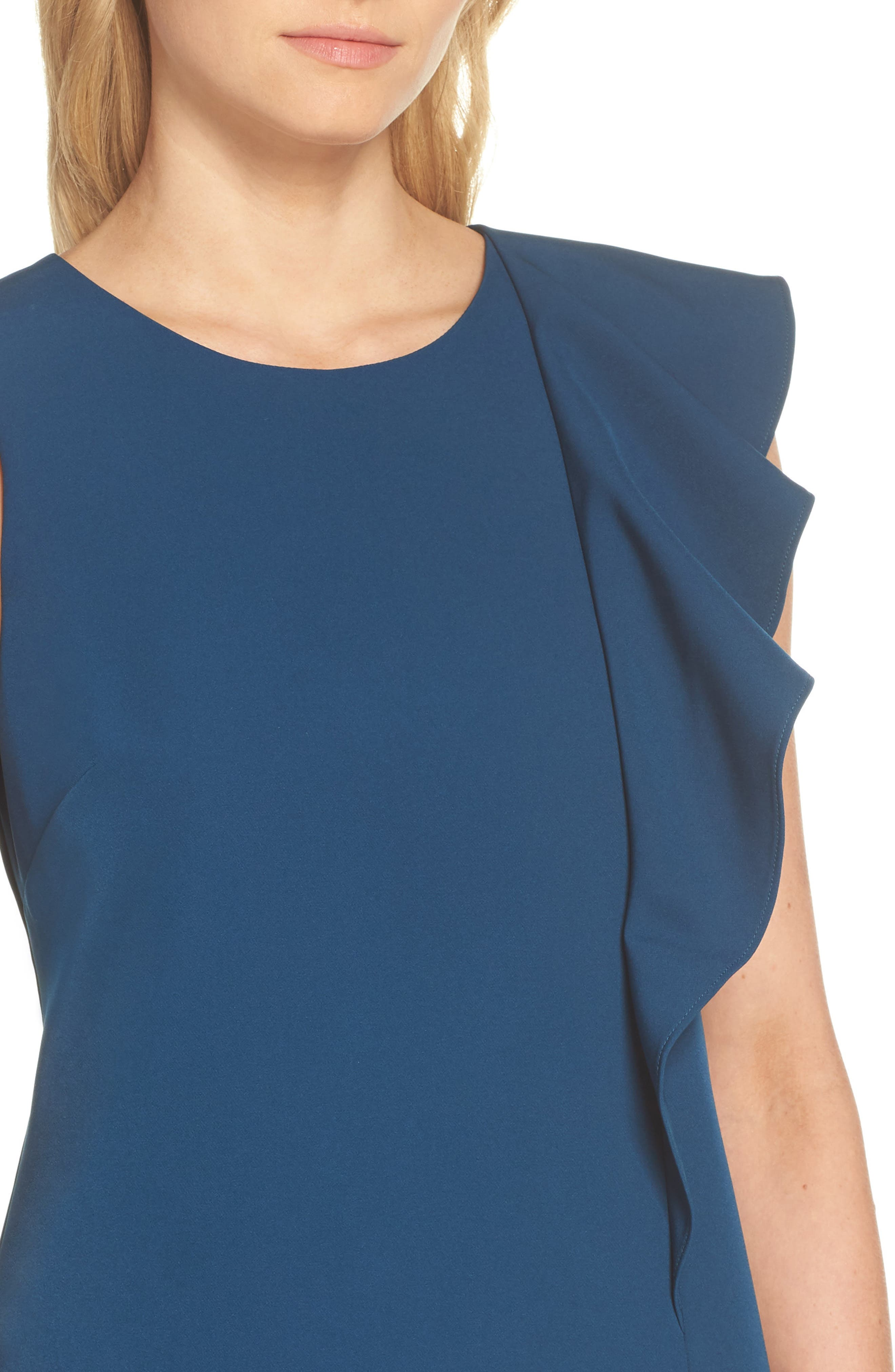 Ruffle Crepe A-Line Dress,                             Alternate thumbnail 4, color,                             Deep Teal