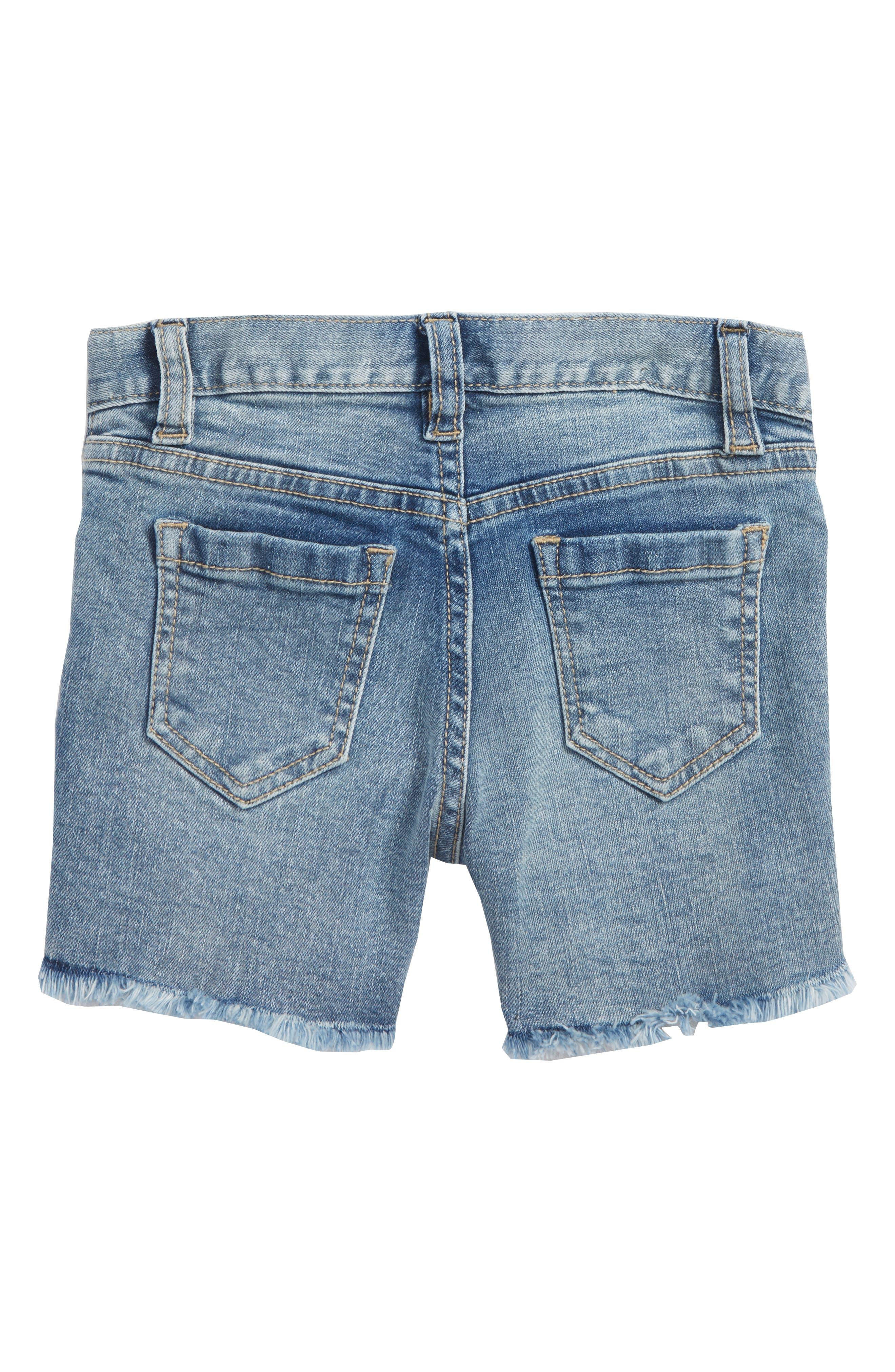Embroidered Frayed Hem Denim Shorts,                             Alternate thumbnail 2, color,                             Medium Authentic