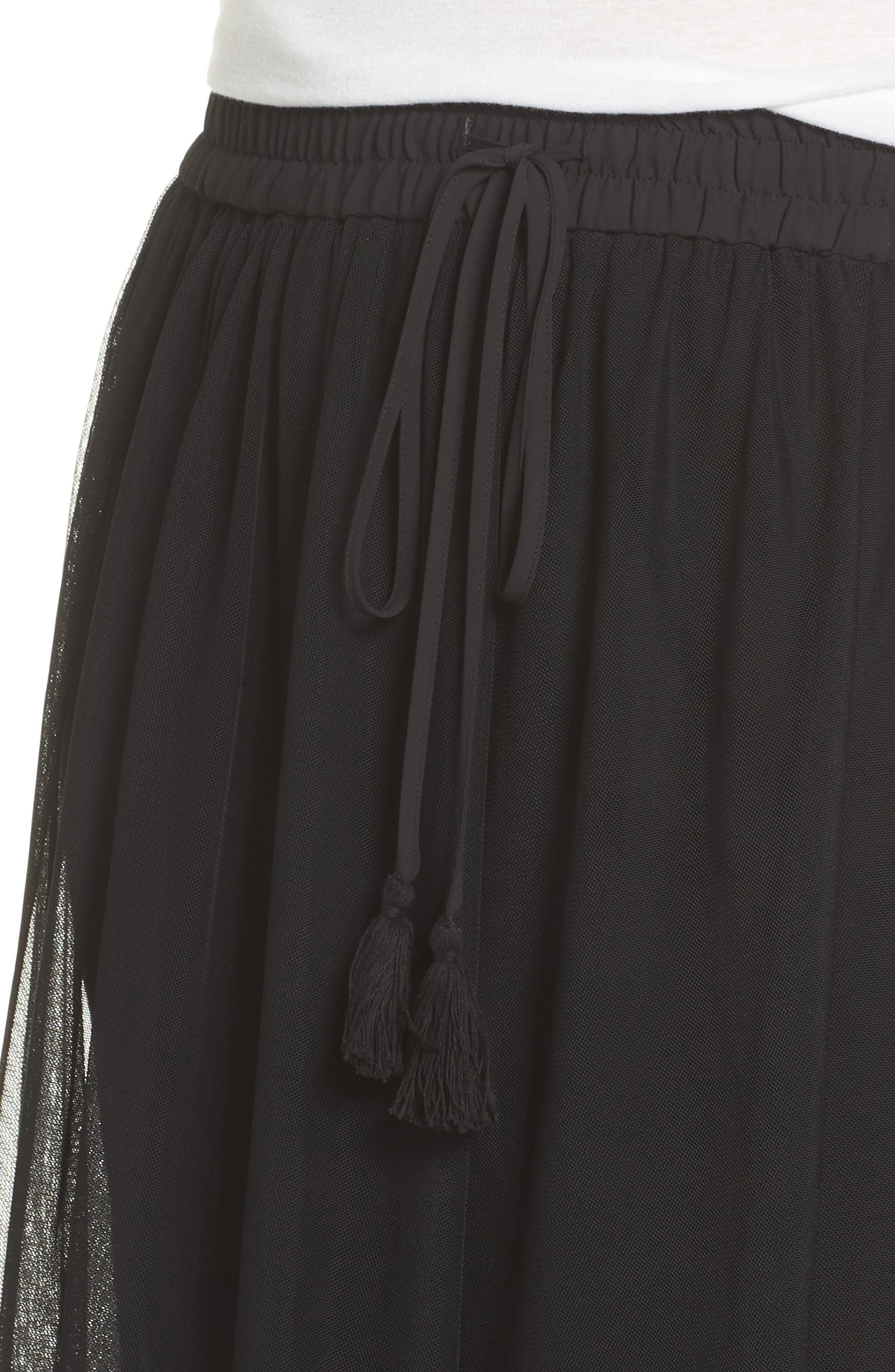Side Tie Mesh Overlay Maxi Skirt,                             Alternate thumbnail 4, color,                             Rich Black