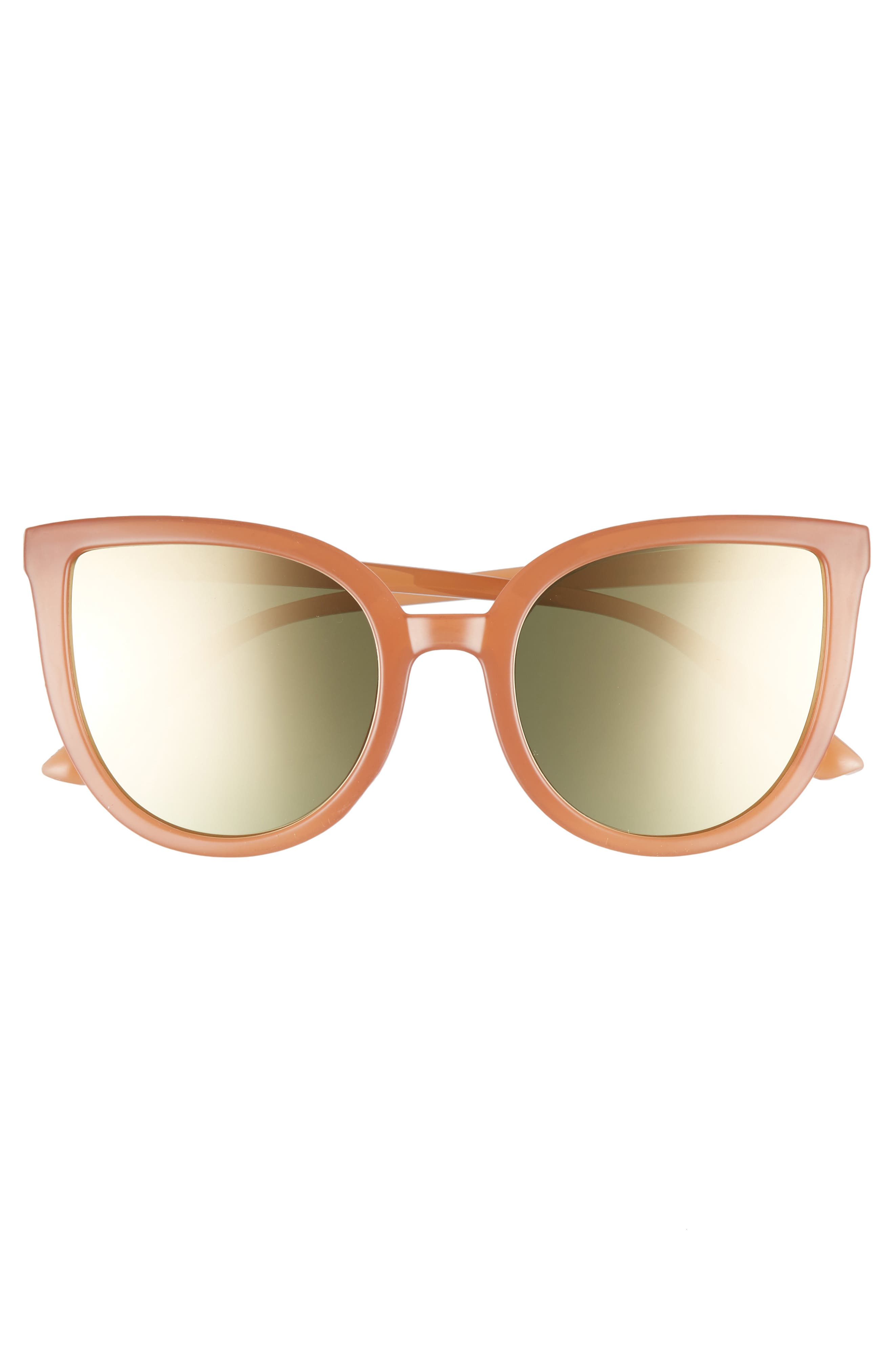 Thin Cat Eye Sunglasses,                             Alternate thumbnail 3, color,                             Milky Peach/ Gold