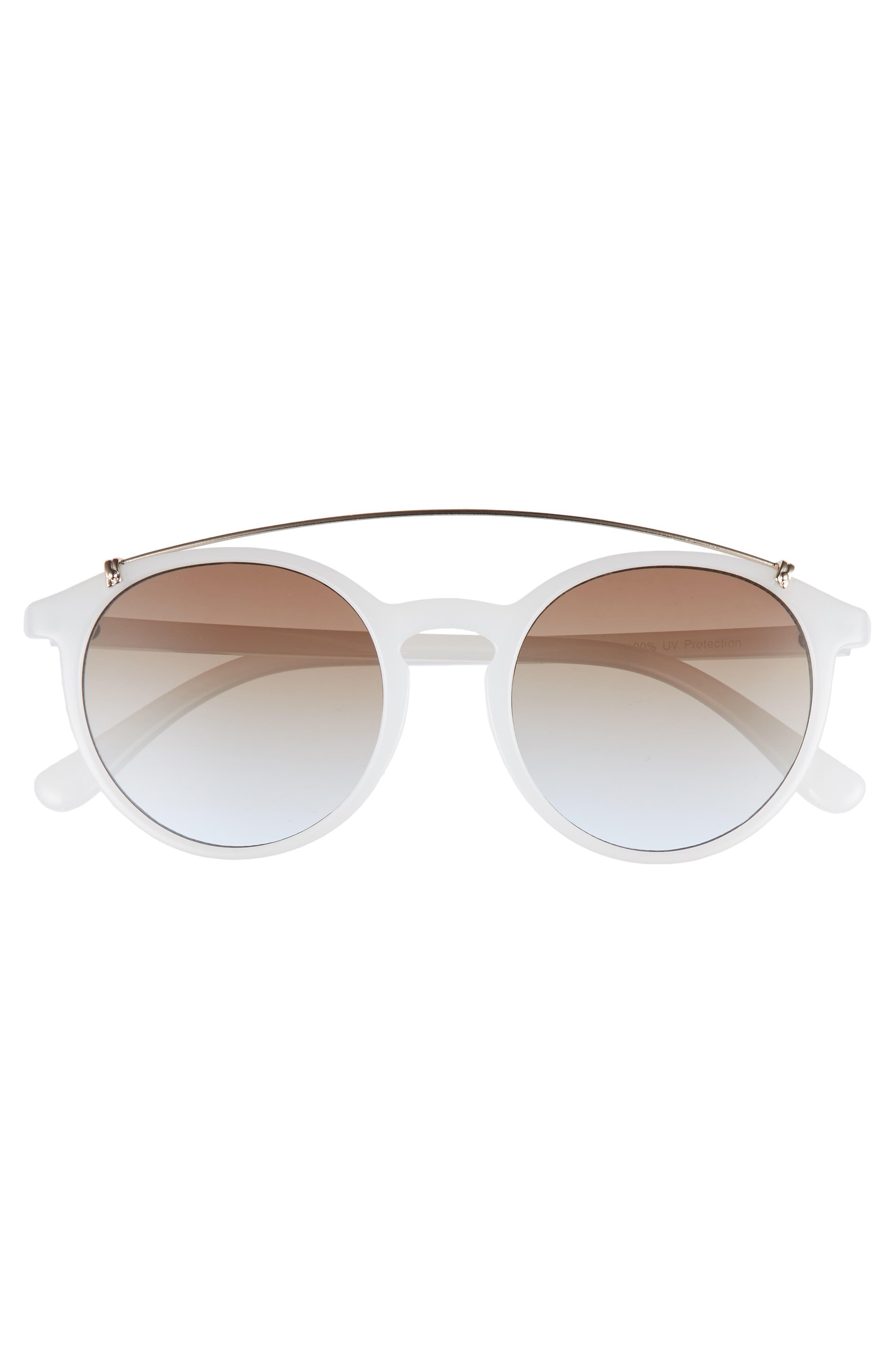 Round Aviator Sunglasses,                             Alternate thumbnail 3, color,                             Milky White/ Gold
