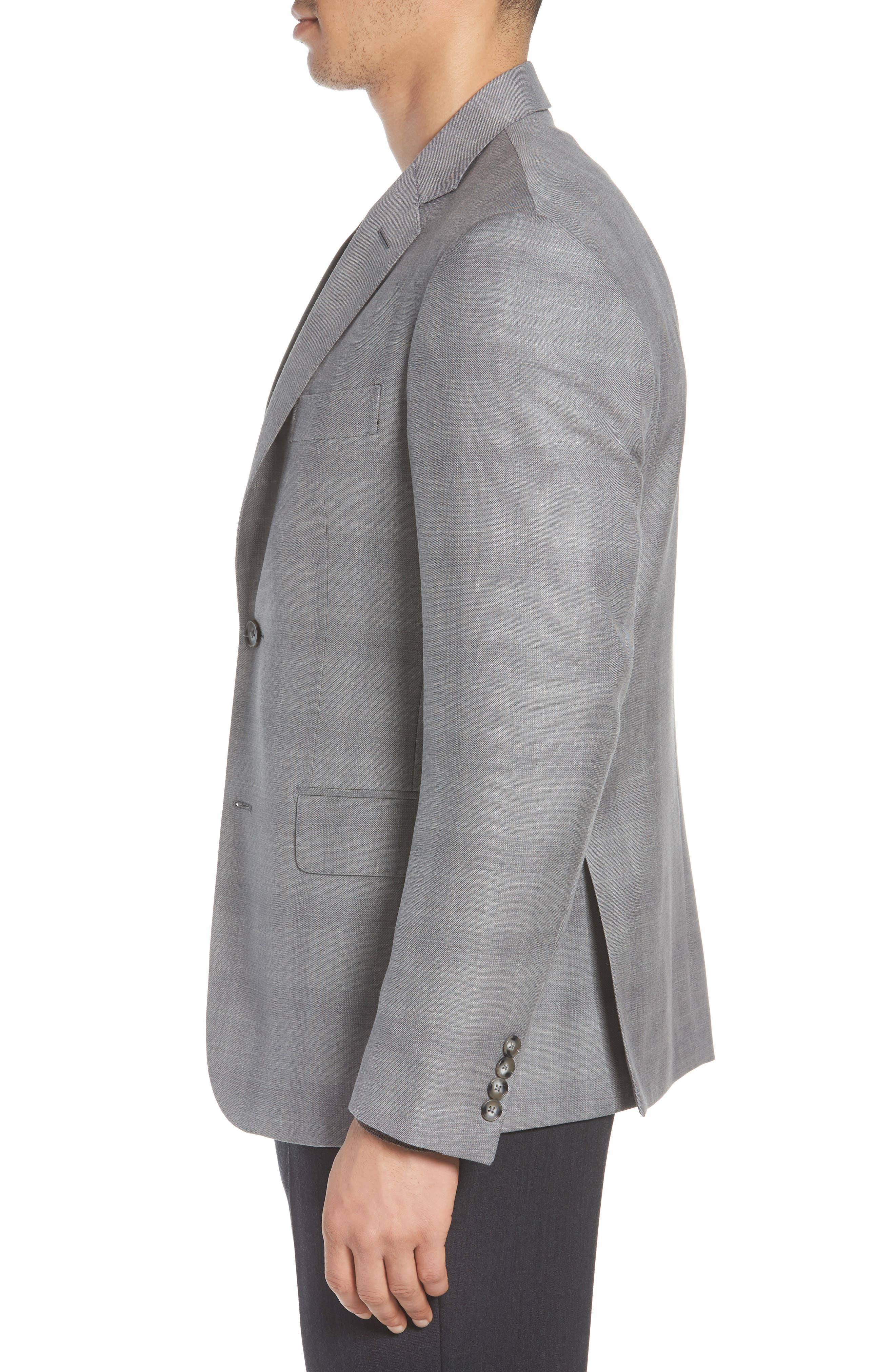 Traditional Fit Windowpane Wool Sport Coat,                             Alternate thumbnail 5, color,                             Grey