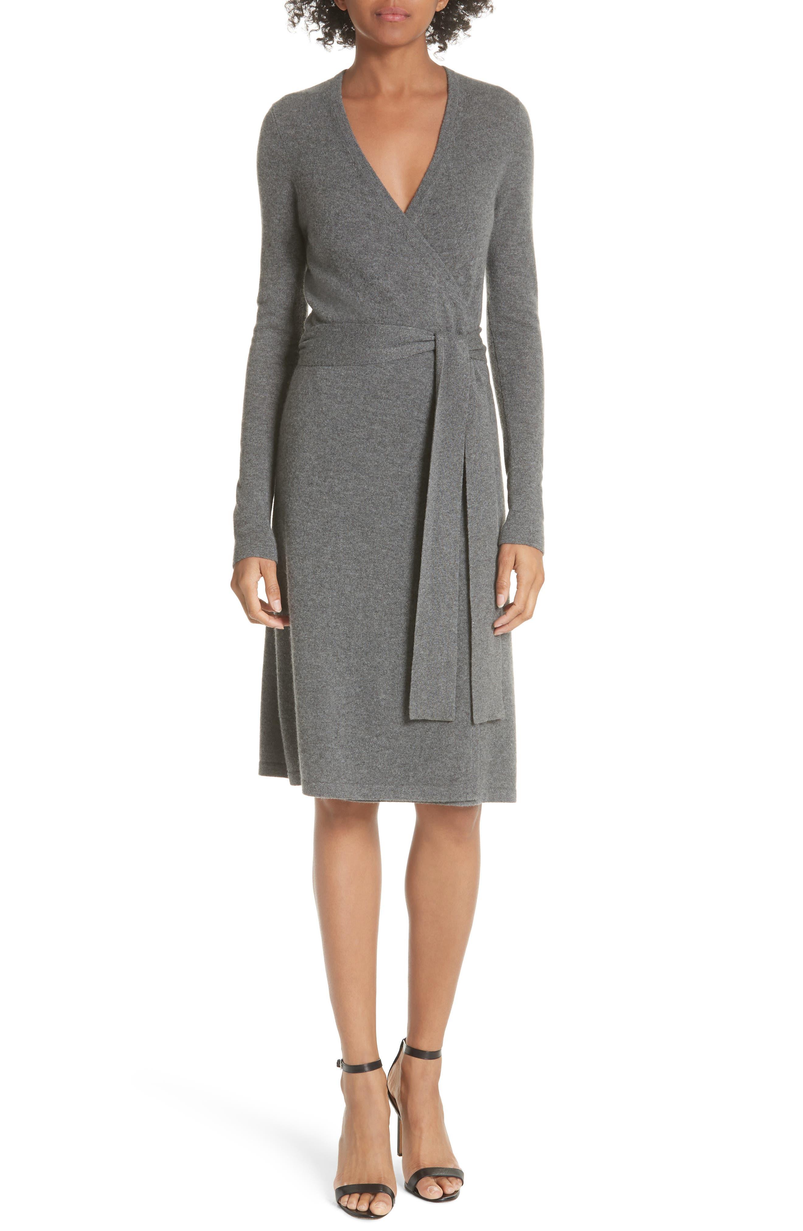 Diane Von Furstenberg Linda Cashmere Wrap Dress,                         Main,                         color, Charcoal Melange