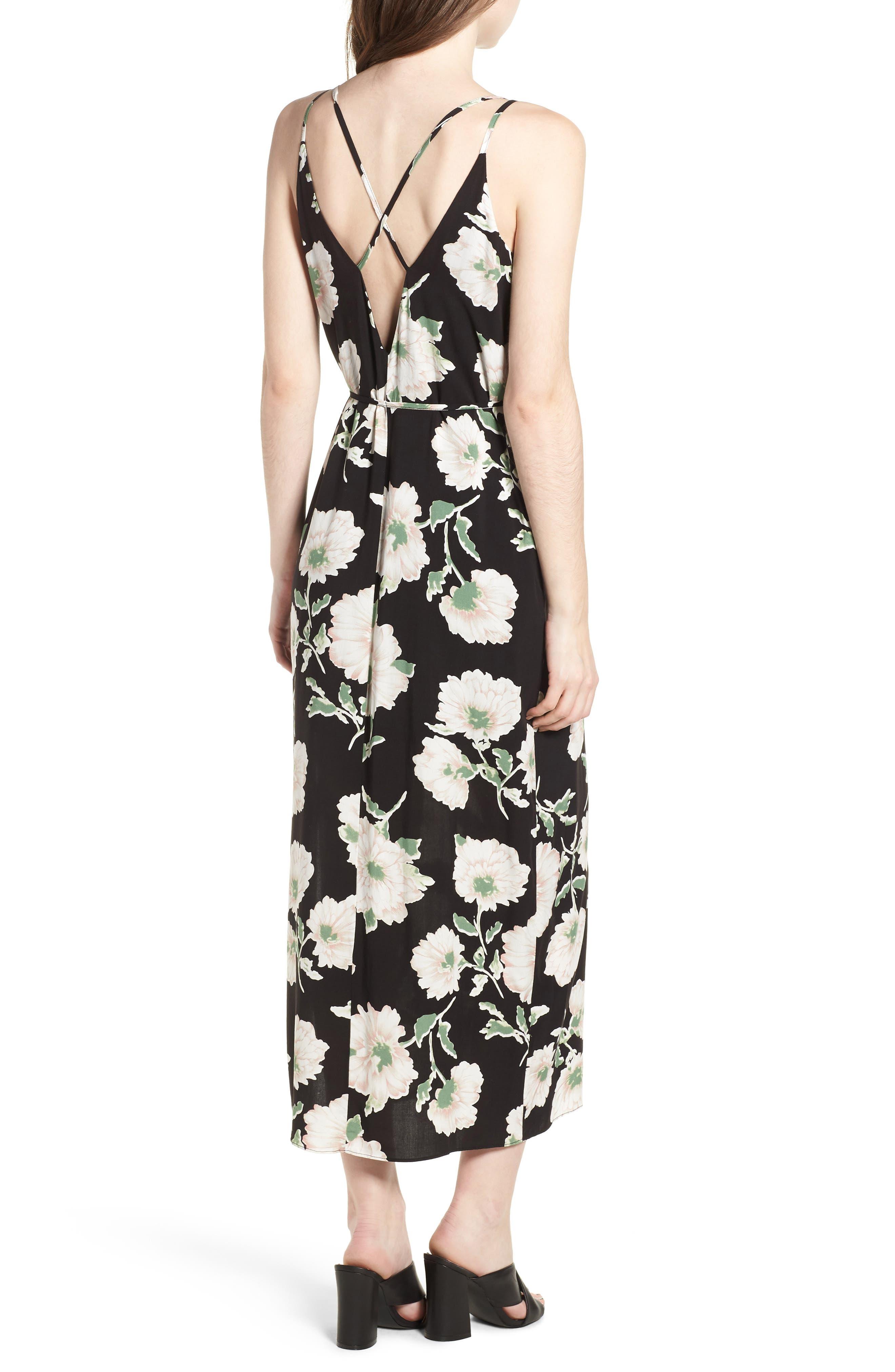 Tie Waist Maxi Dress,                             Alternate thumbnail 2, color,                             431 Black