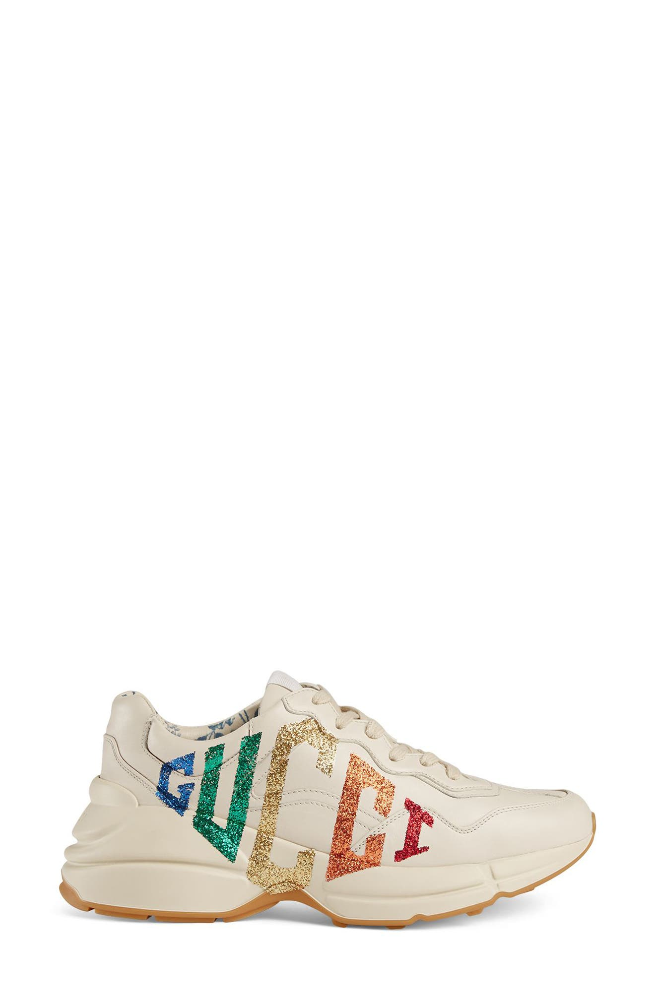 Rhyton Rainbow Logo Sneaker,                             Alternate thumbnail 2, color,                             Mystic White