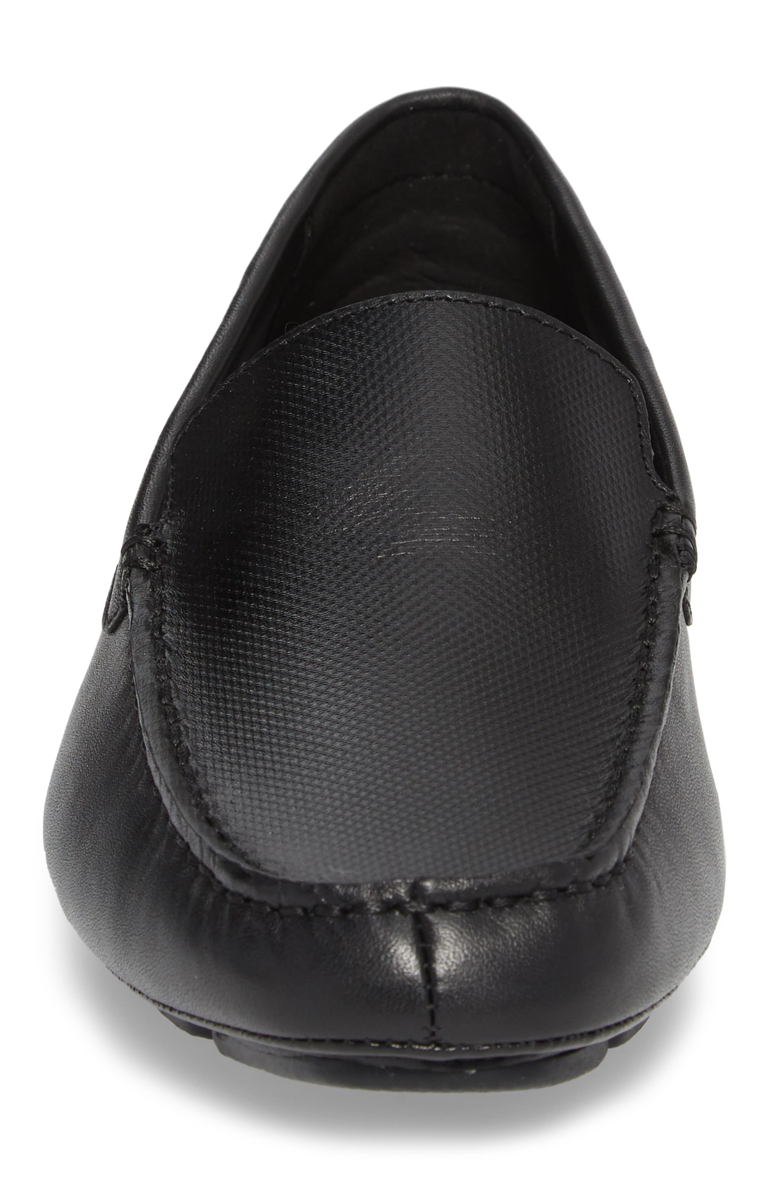 Miguel Textured Driving Loafer,                             Alternate thumbnail 4, color,                             Black Leather