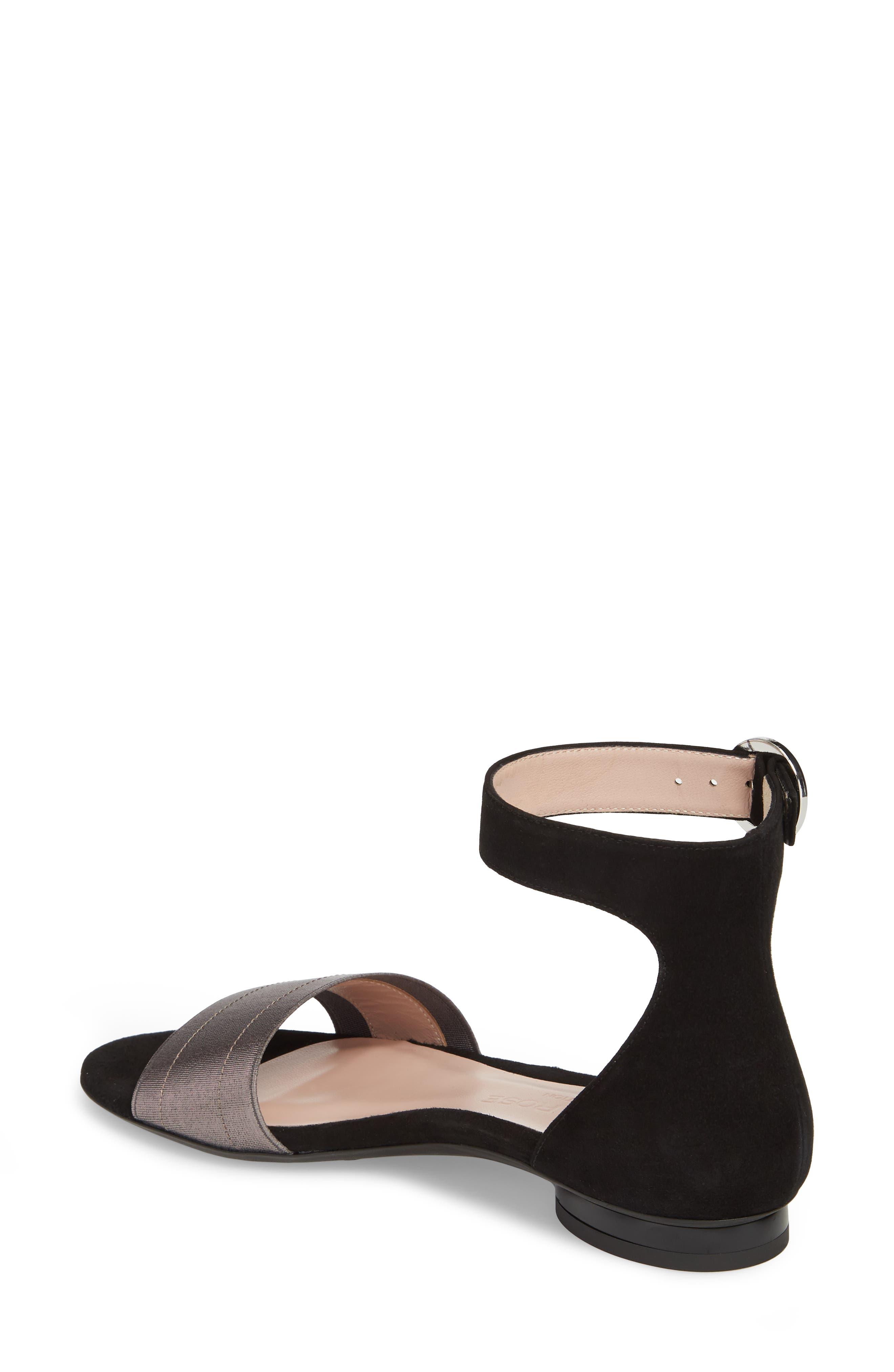 Donati Ankle Strap Sandal,                             Alternate thumbnail 2, color,                             Black/ Gunmetal Suede