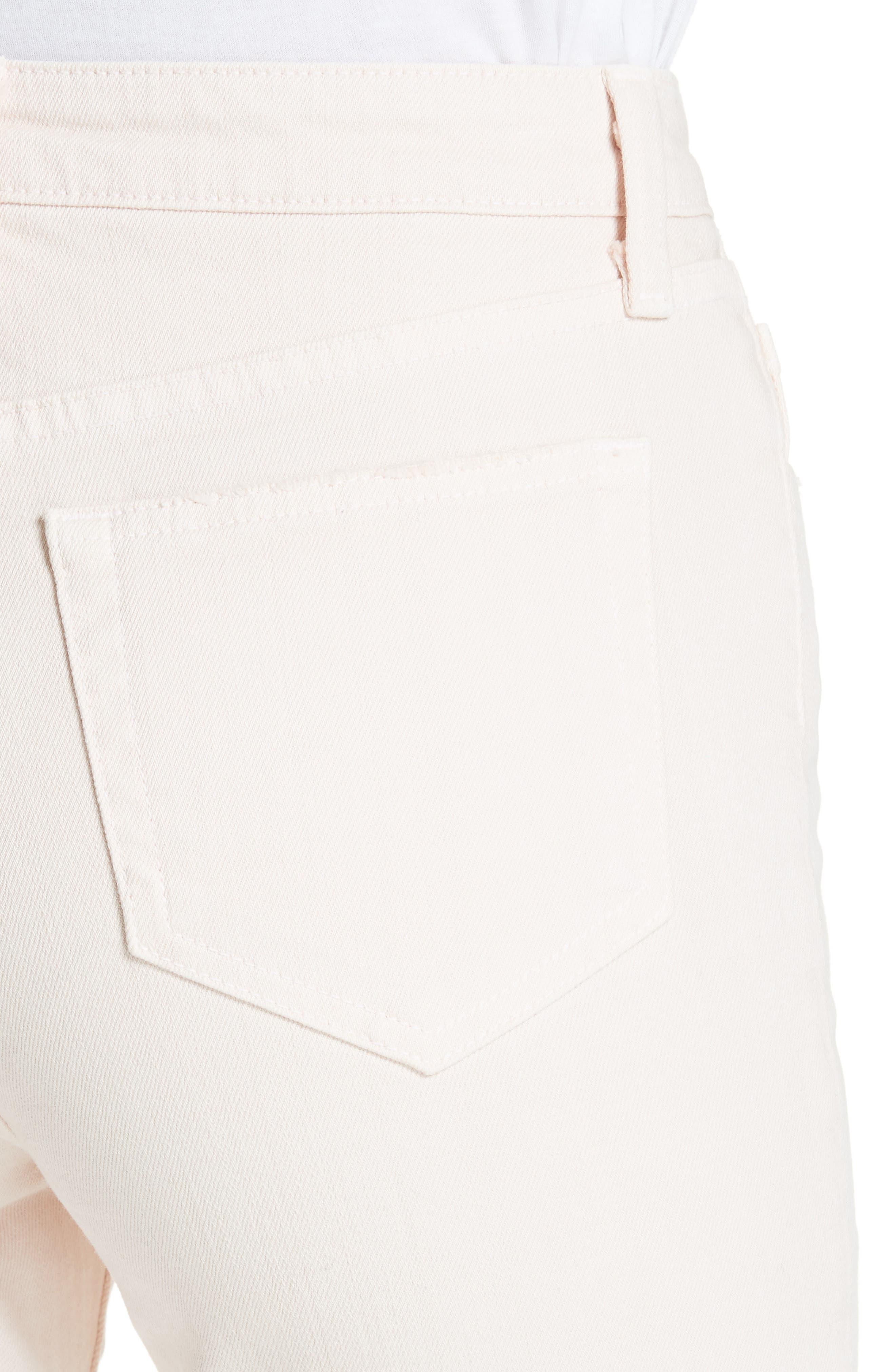 Audrina Ripped Straight Leg Crop Jeans,                             Alternate thumbnail 4, color,                             Quartz Worn Destruct
