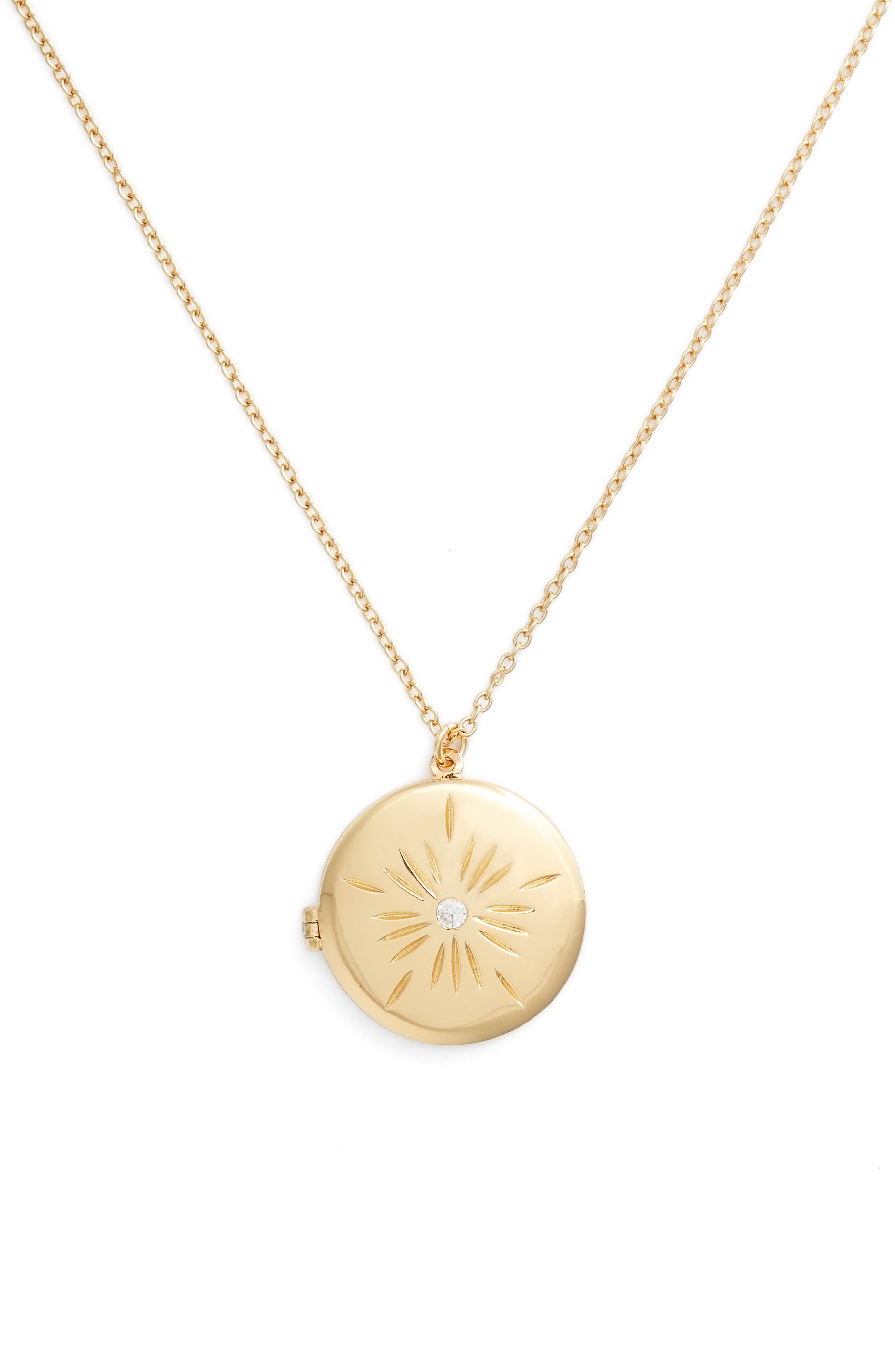 Flower Locket Necklace,                             Alternate thumbnail 2, color,                             Yellow Gold
