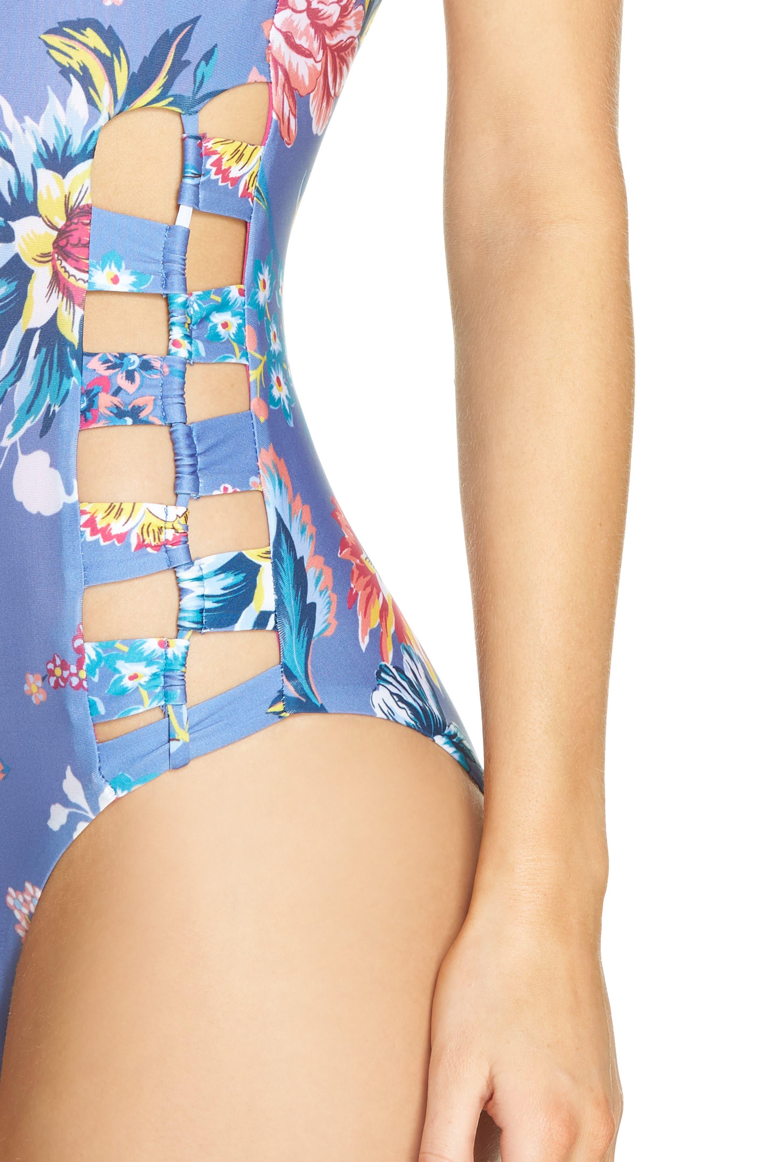 Victorian Garden Reversible One-Piece Swimsuit,                             Alternate thumbnail 4, color,                             Purple/ Blue Multi