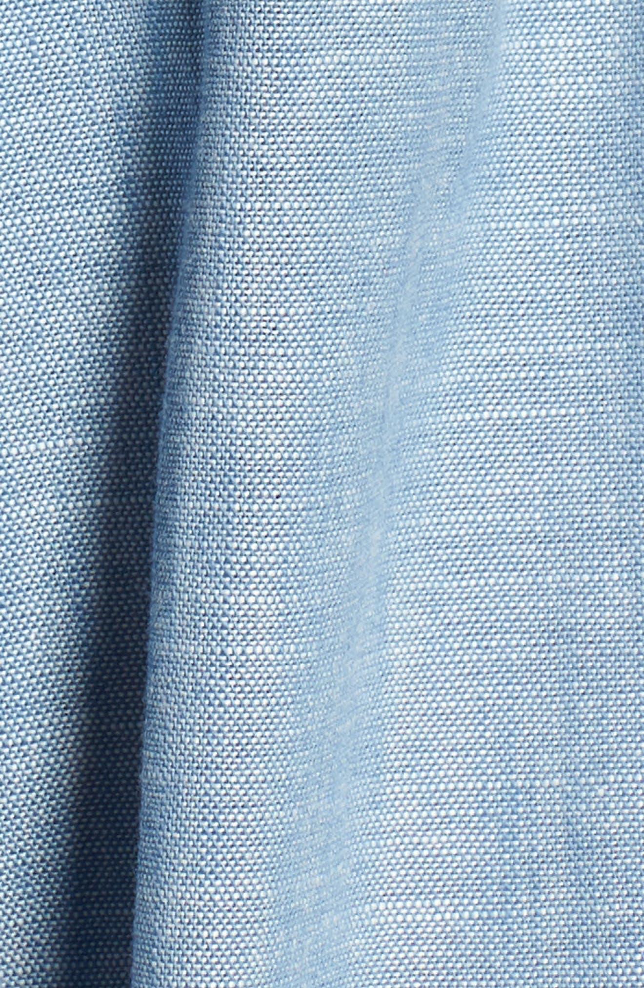 Ruffle Sleeve Jumpsuit,                             Alternate thumbnail 6, color,                             Chambray