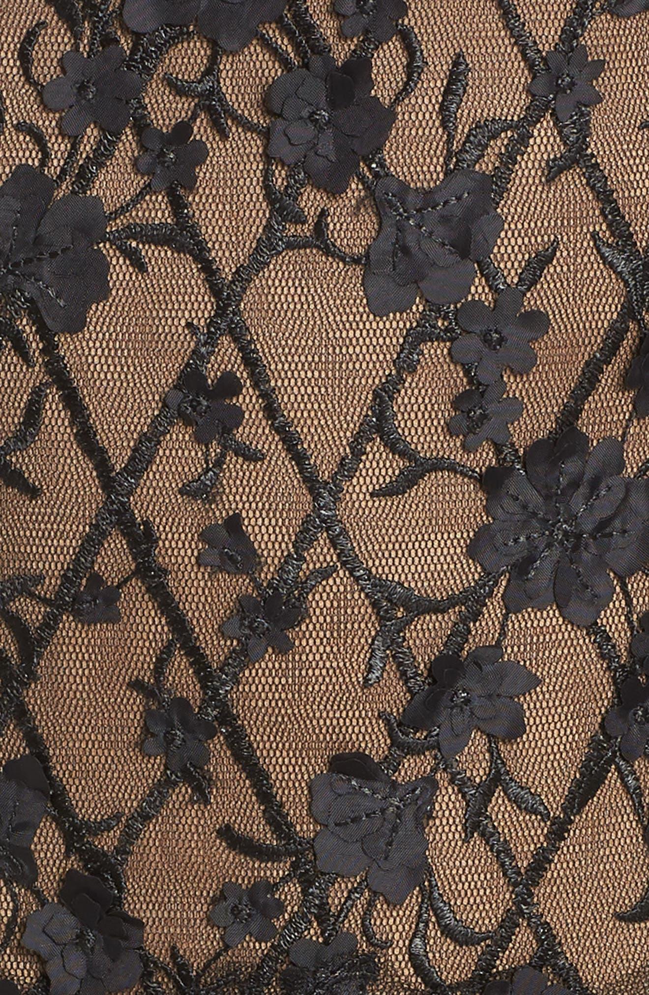 3D Flower Off the Shoulder Dress,                             Alternate thumbnail 5, color,                             Black/ Nude