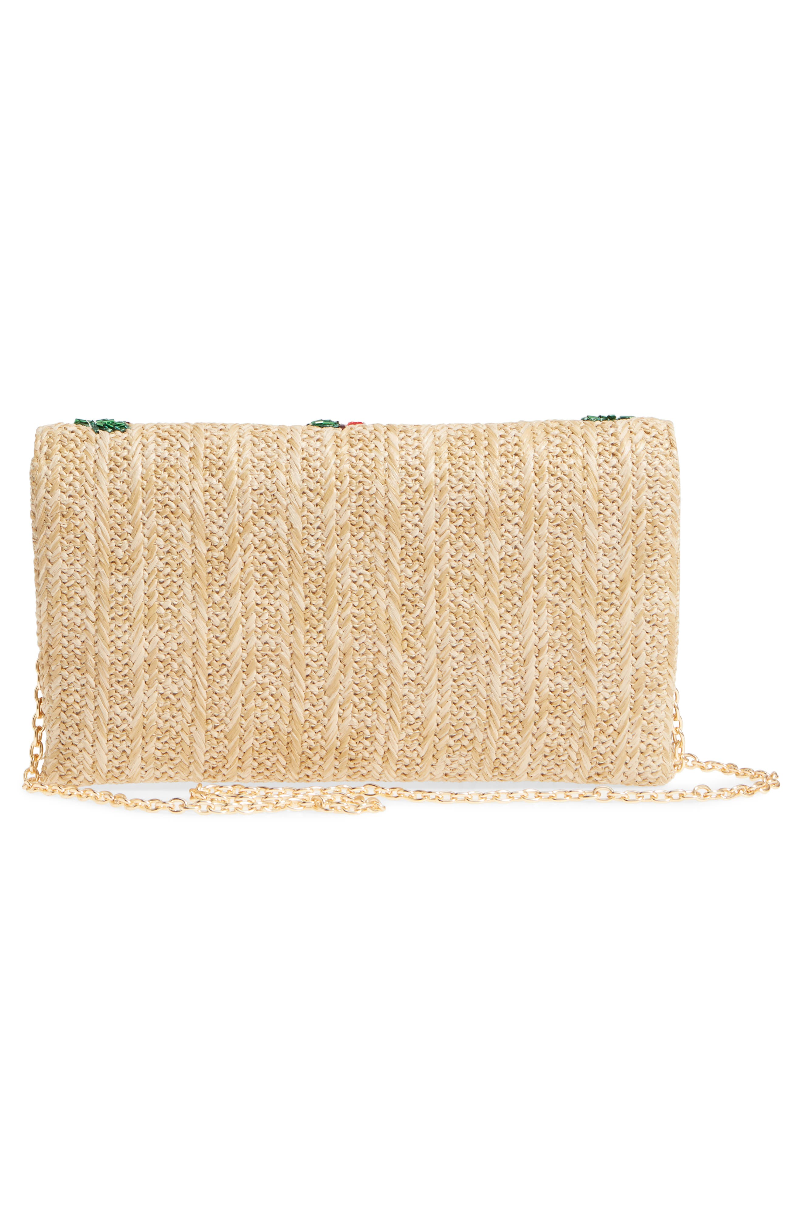 Cherry Embellished Straw Envelope Clutch,                             Alternate thumbnail 3, color,                             Natural