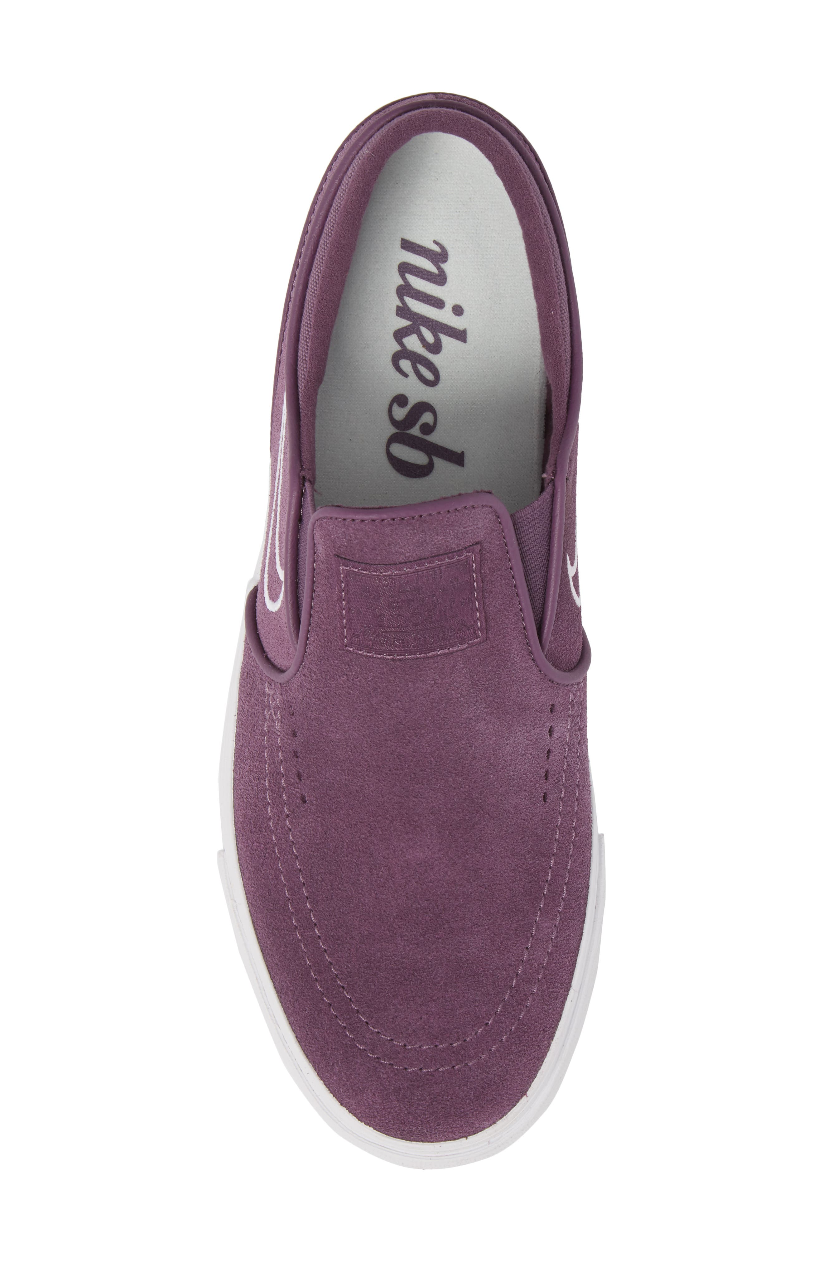 Zoom Stefan Janoski Slip-On,                             Alternate thumbnail 5, color,                             Pro Purple/ White/ Grey