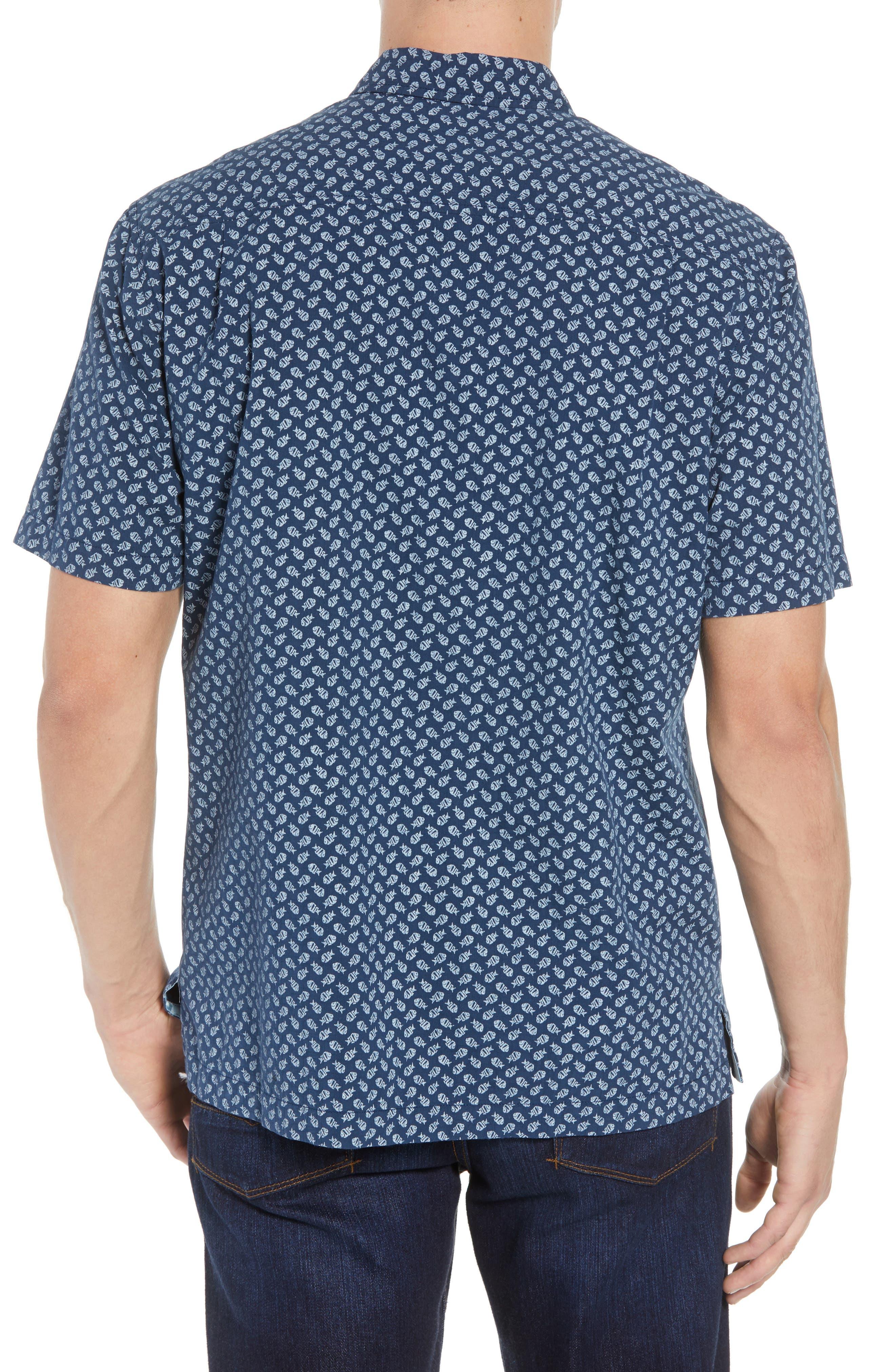 A-Fish-ianado Cotton & Silk Camp Shirt,                             Alternate thumbnail 3, color,                             Ocean Deep