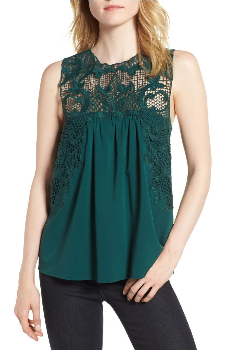 Lace Yoke Top,                         Main,                         color, Green Bug