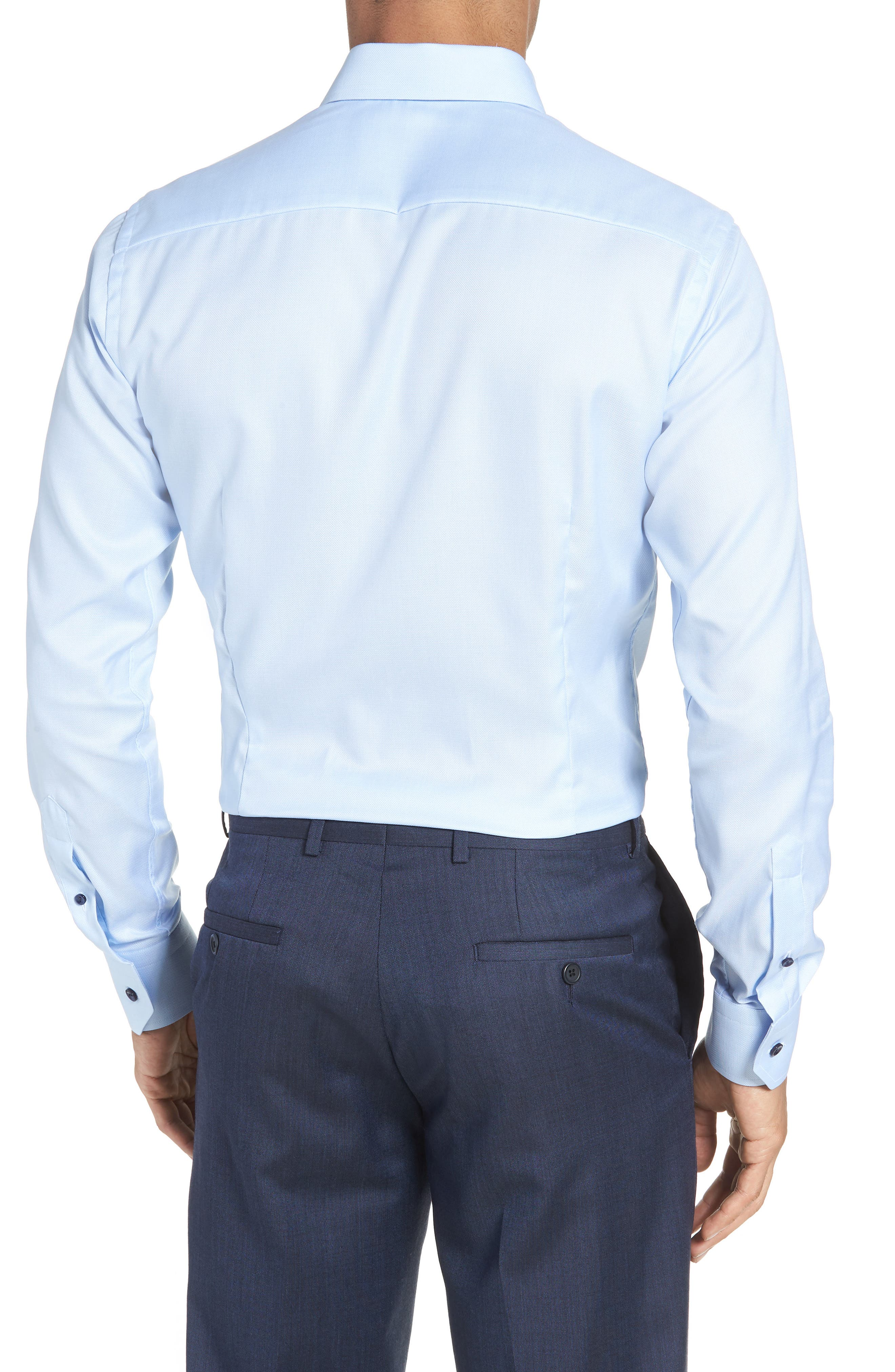 Slim Fit Solid Dress Shirt,                             Alternate thumbnail 3, color,                             Blue