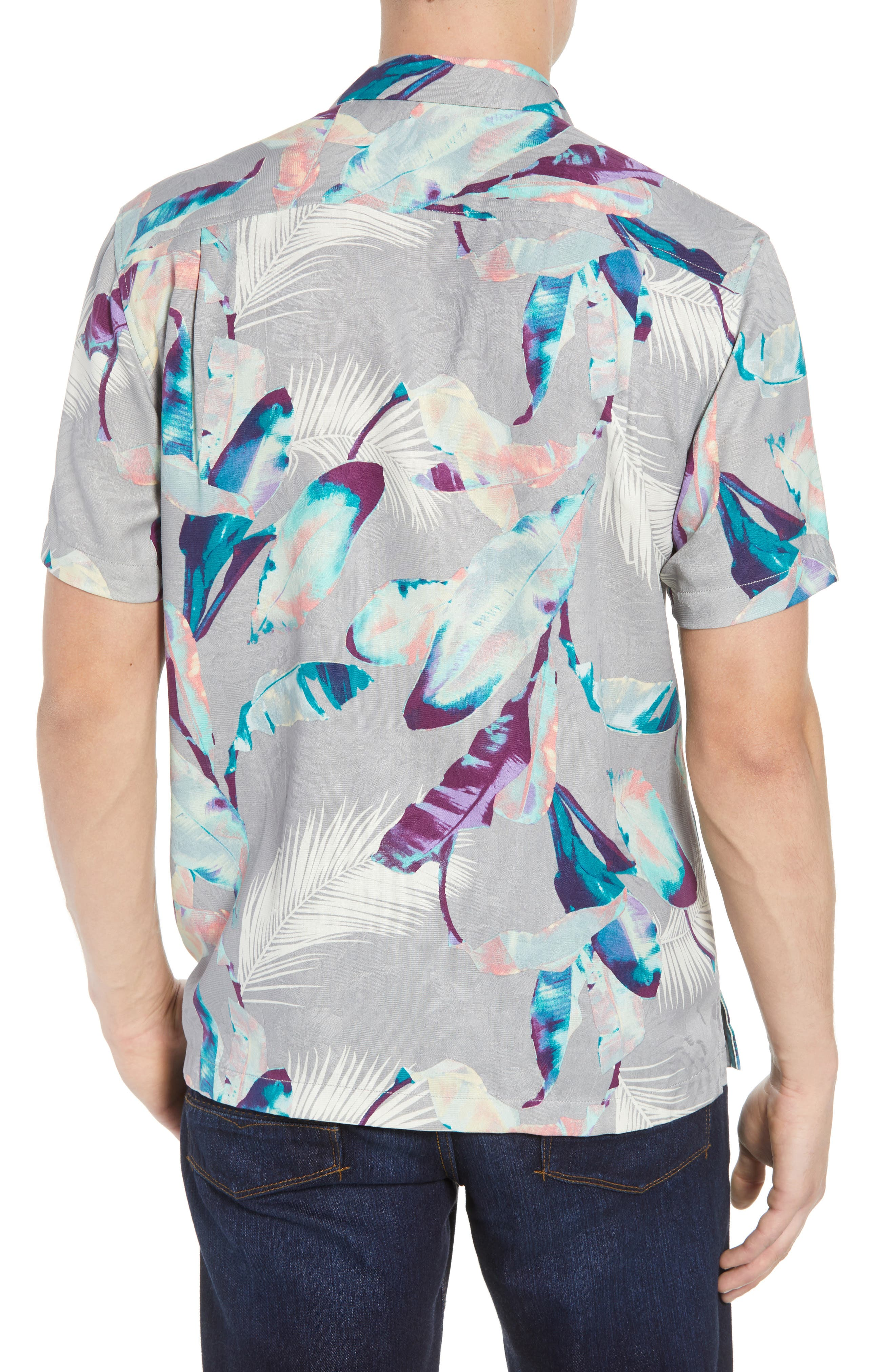Garden of Hope and Courage Silk Camp Shirt,                             Alternate thumbnail 3, color,                             Bala Shark