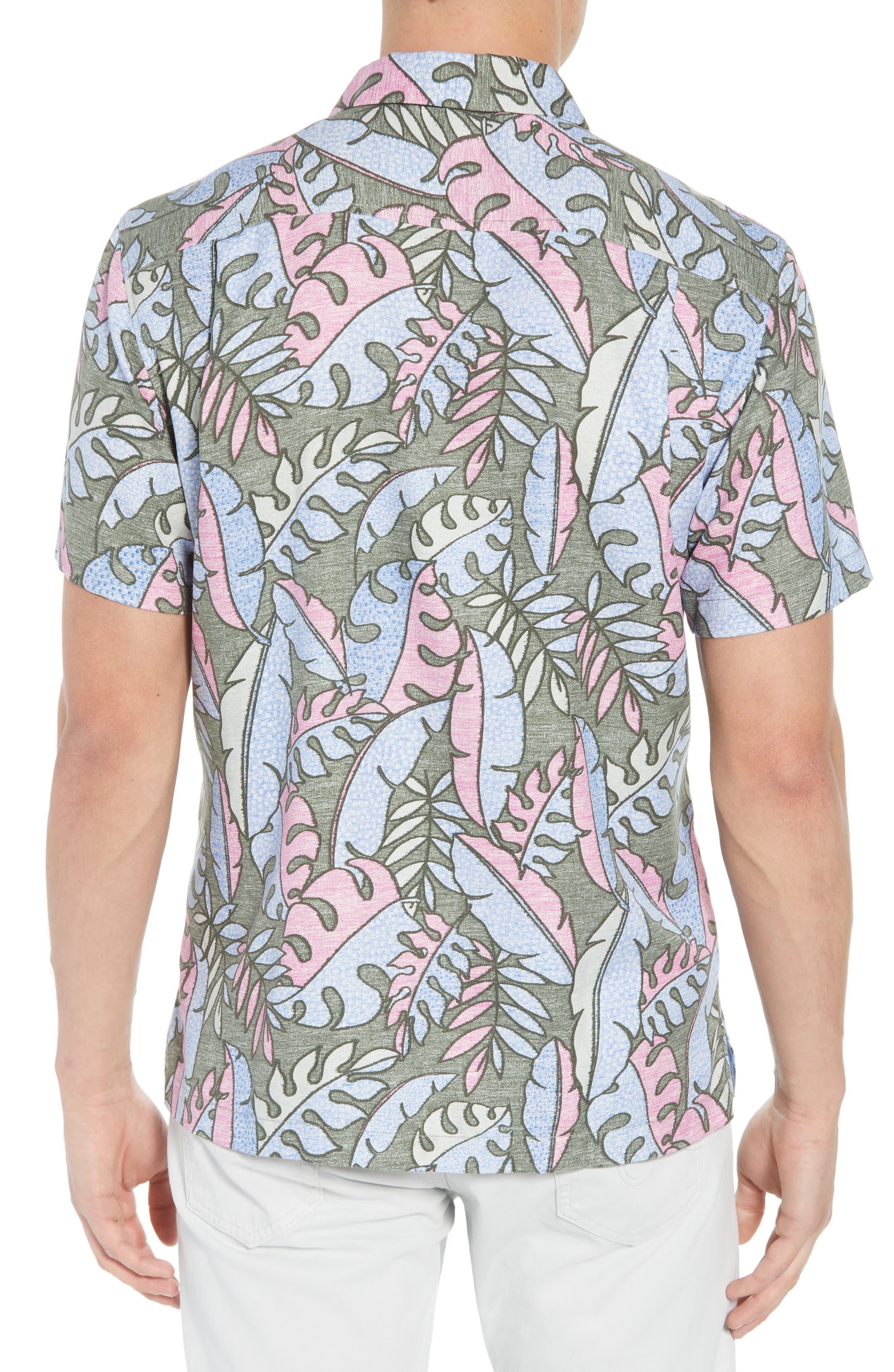Mateo Fronds Silk Blend Camp Shirt,                             Alternate thumbnail 3, color,                             Grand Canal