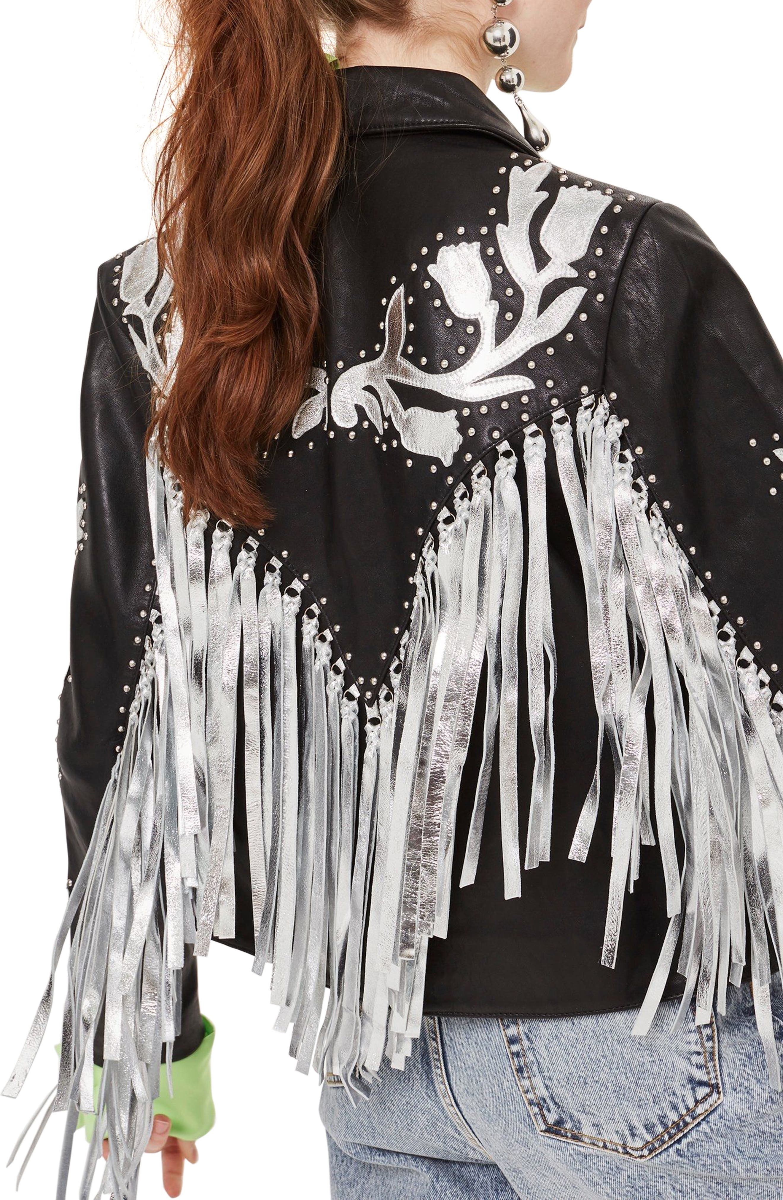Austin Floral Silver Fringed Leather Jacket,                             Alternate thumbnail 2, color,                             Black Multi