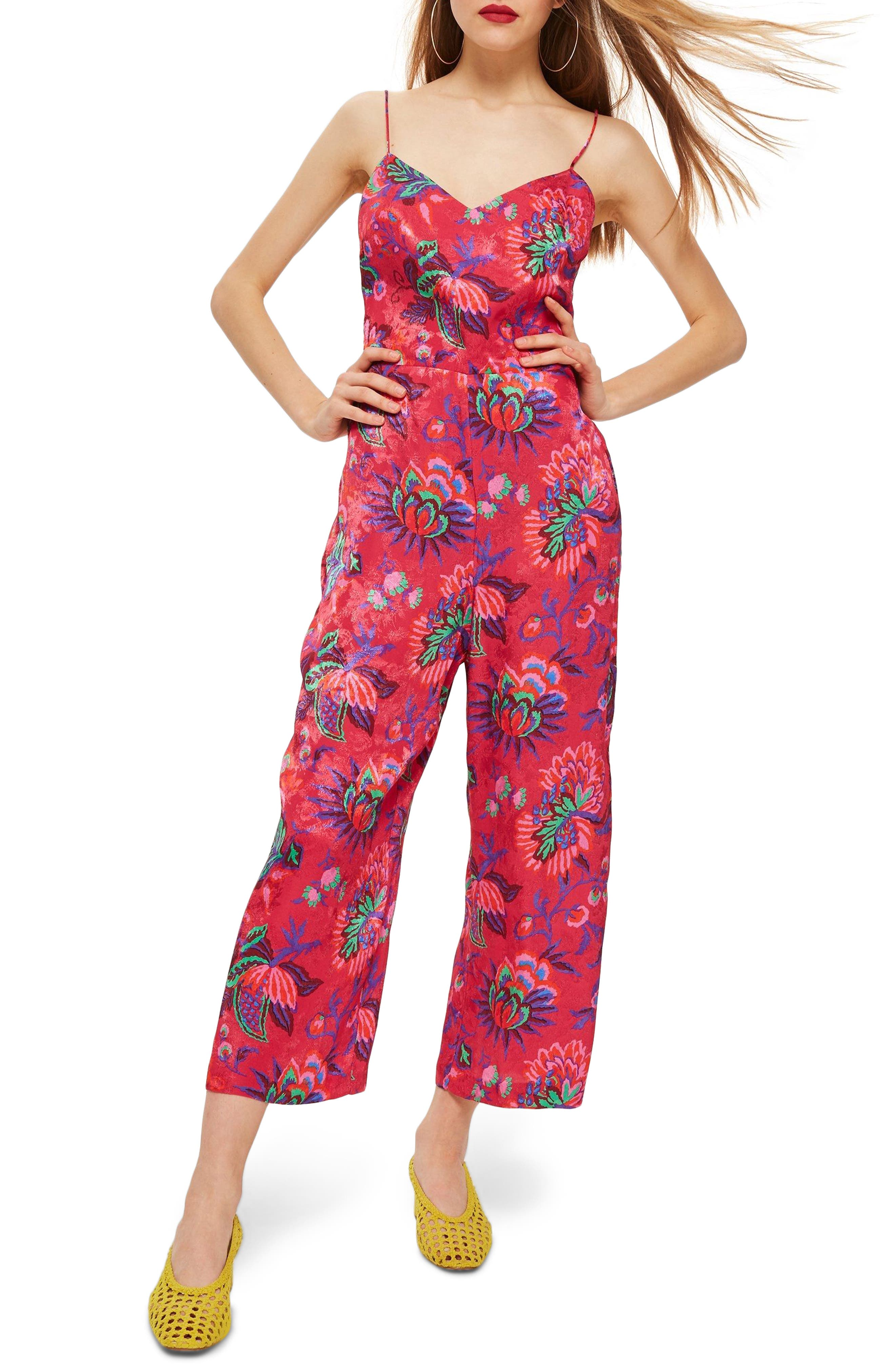 Sleeveless Floral Jumpsuit,                             Main thumbnail 1, color,                             Pink Multi