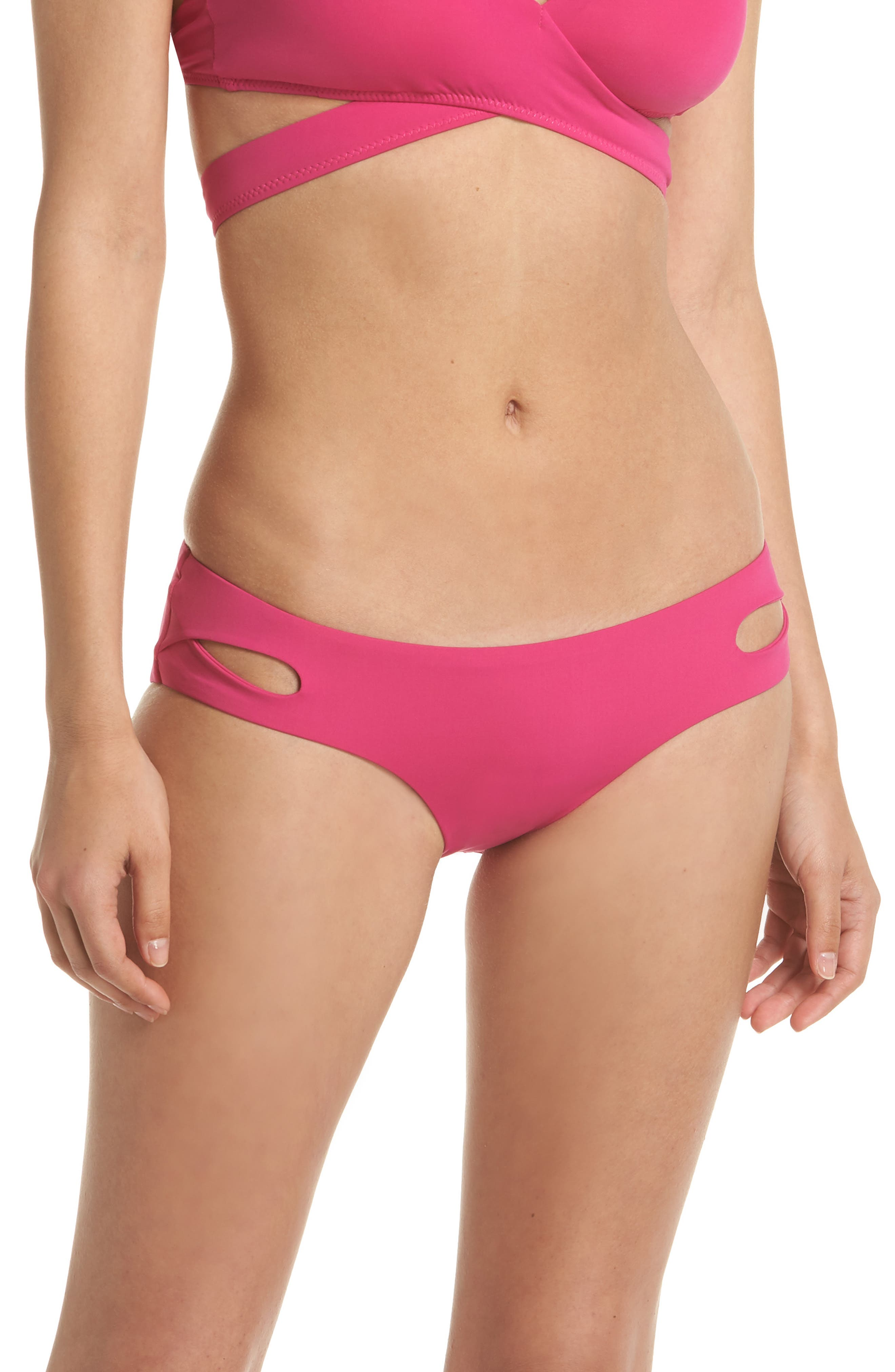 Color Code Hipster Bikini Bottoms,                             Main thumbnail 1, color,                             Flamingo