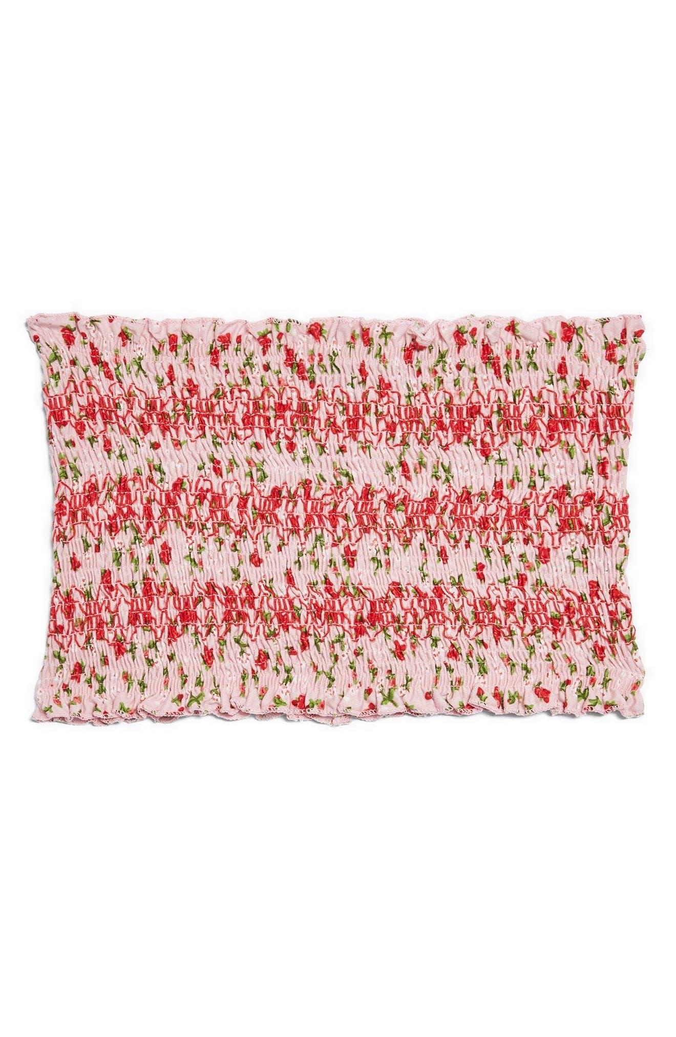 Floral Print Tube Top,                             Alternate thumbnail 4, color,                             Pink Multi