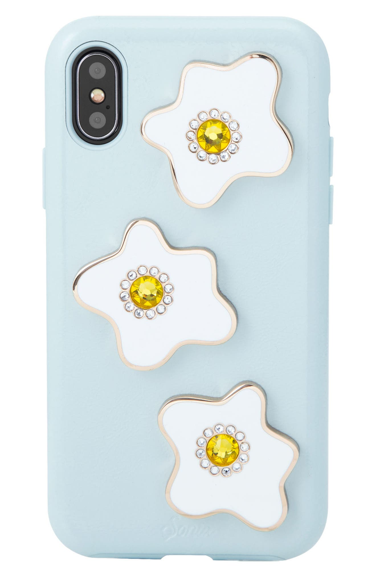 Eggy iPhone X Case,                             Main thumbnail 1, color,                             Blue/ White/ Yellow