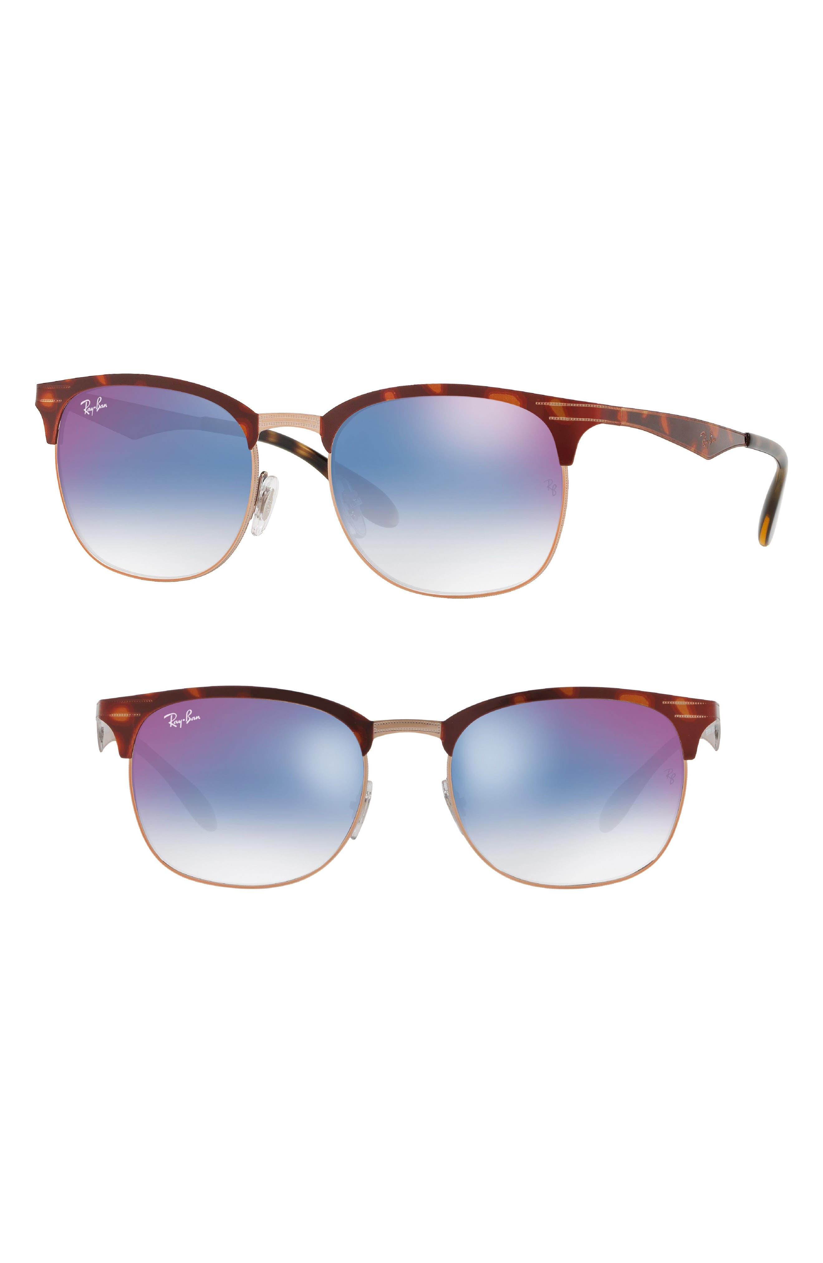 Highstreet 53mm Clubmaster Sunglasses,                         Main,                         color, Red Gradient Mirror