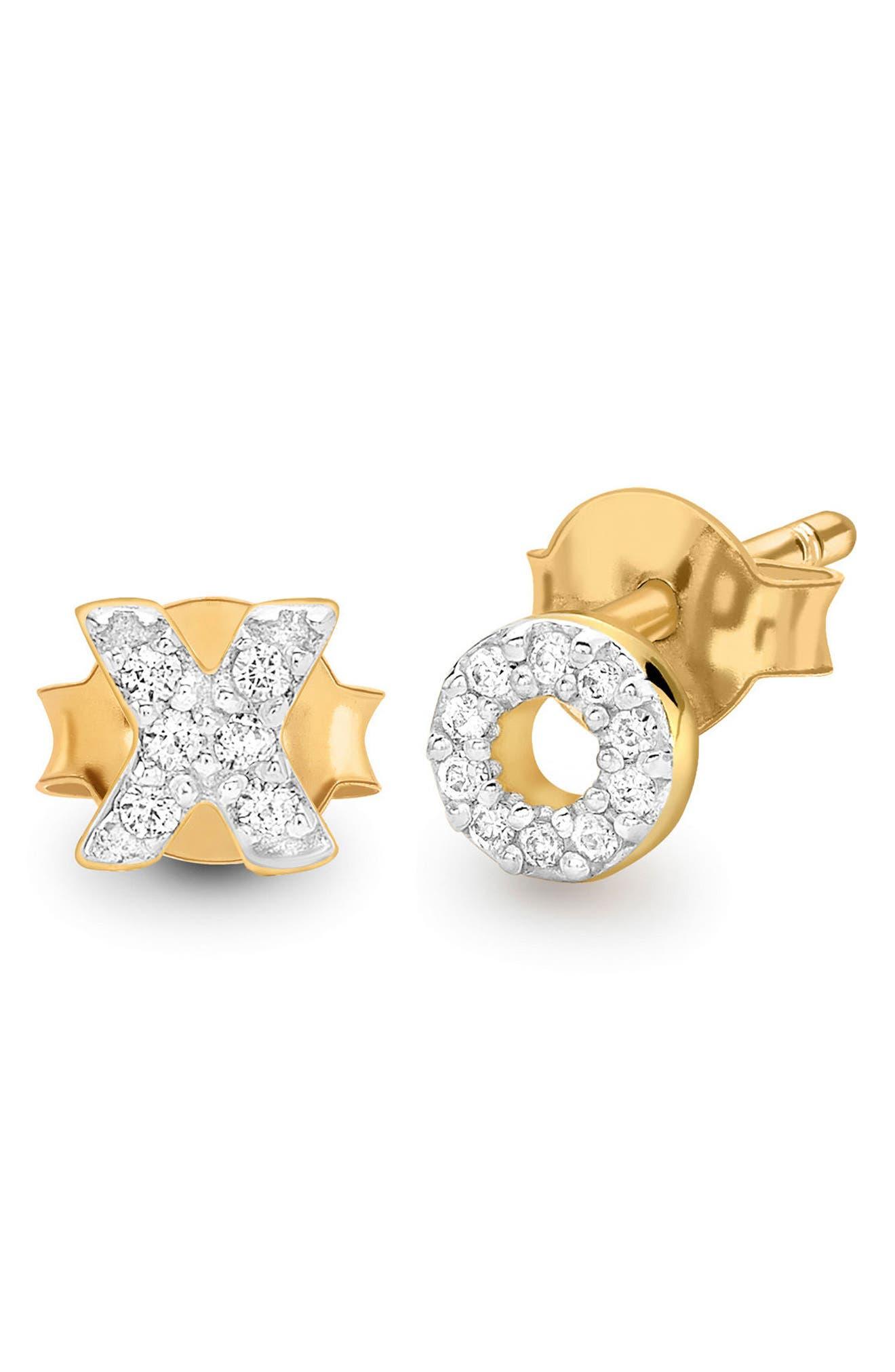 Pavé XO Stud Earrings,                         Main,                         color, Gold