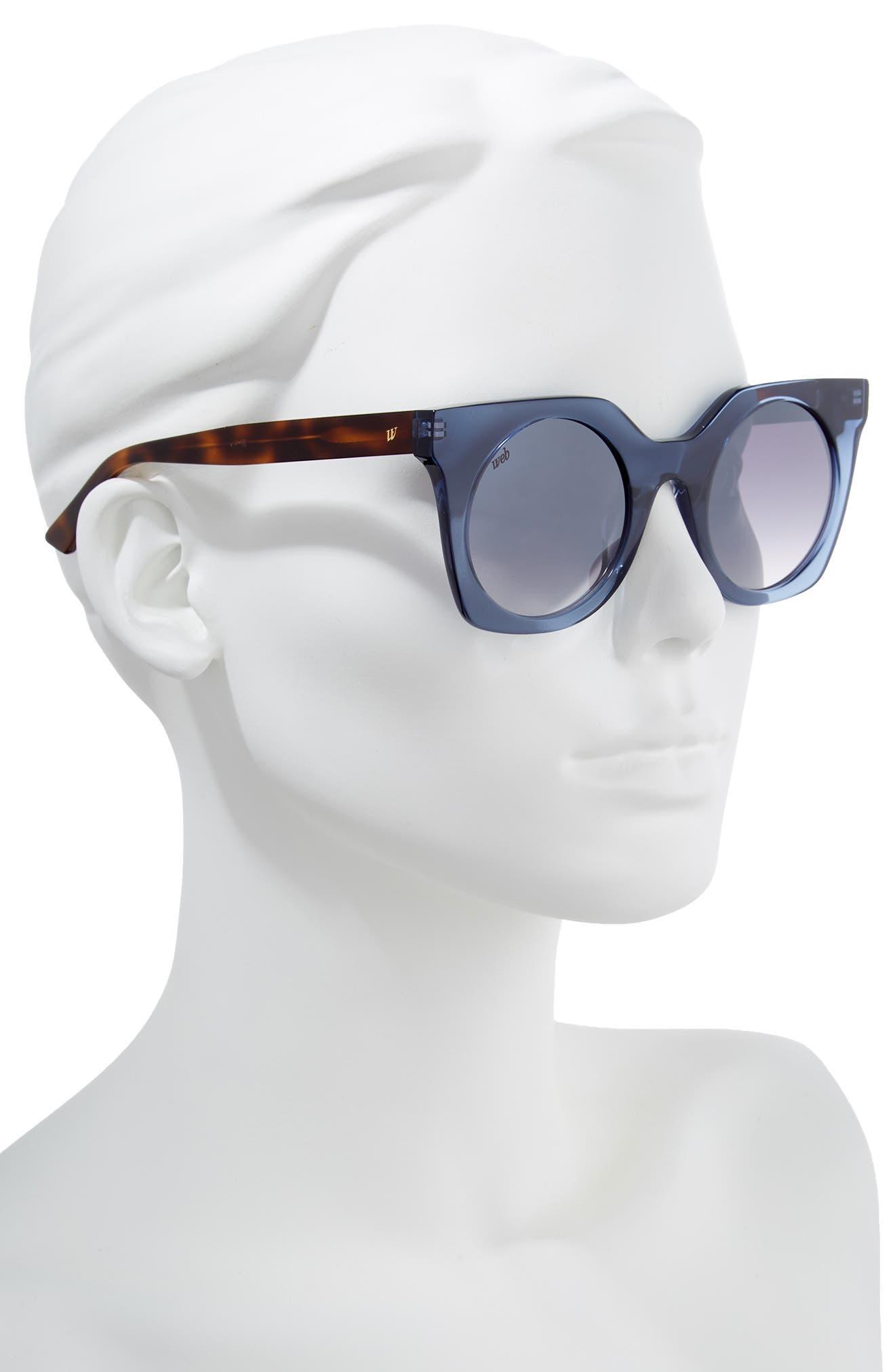 48mm Sunglasses,                             Alternate thumbnail 2, color,                             Shiny Blue/ Blue Mirror