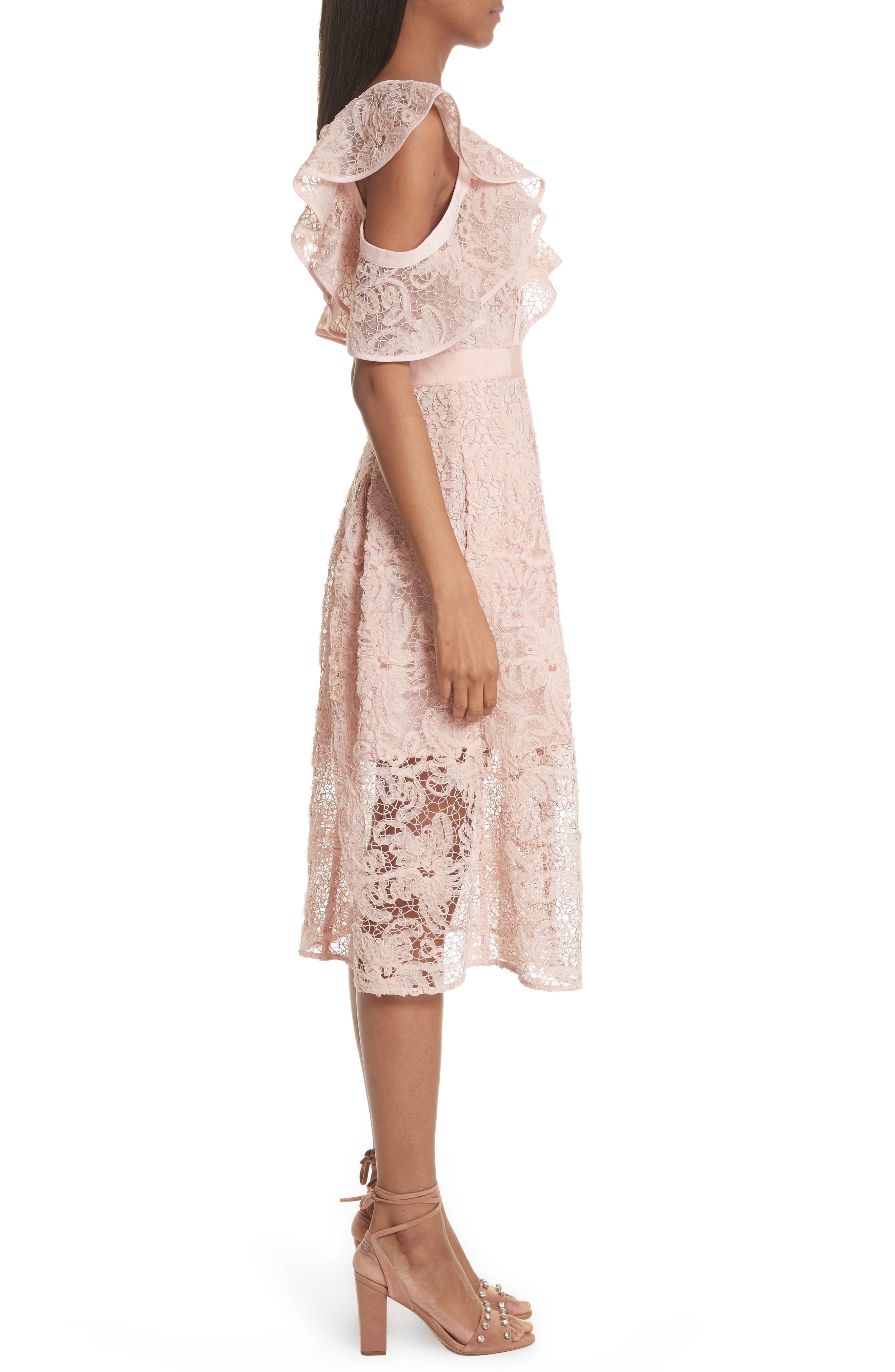 Lace Shoulder Cutout Midi Dress,                             Alternate thumbnail 3, color,                             Pink