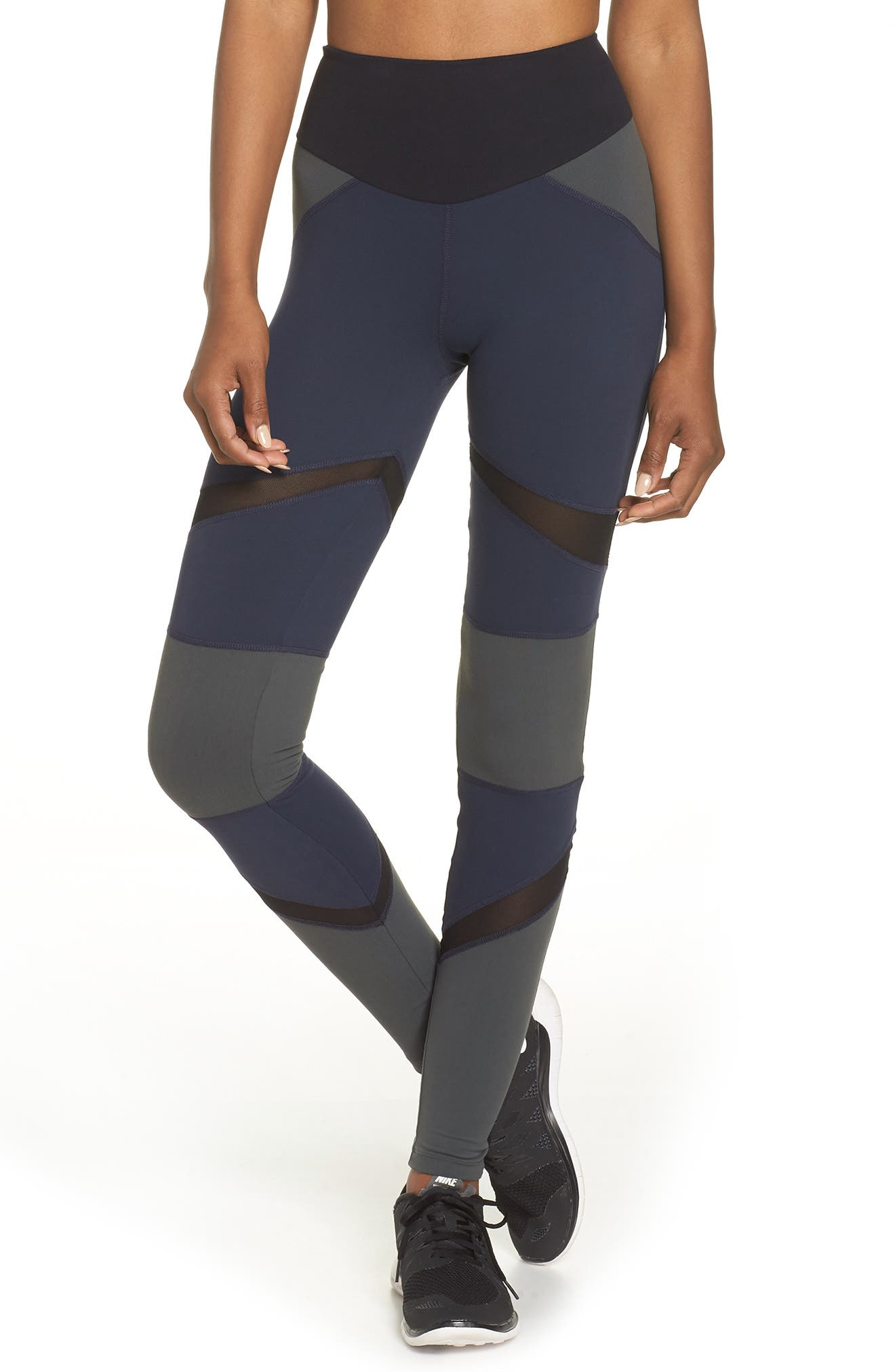 BoomBoom Athletica Brushed Tricolor Panel Leggings,                         Main,                         color, Navy/ Black/ Green