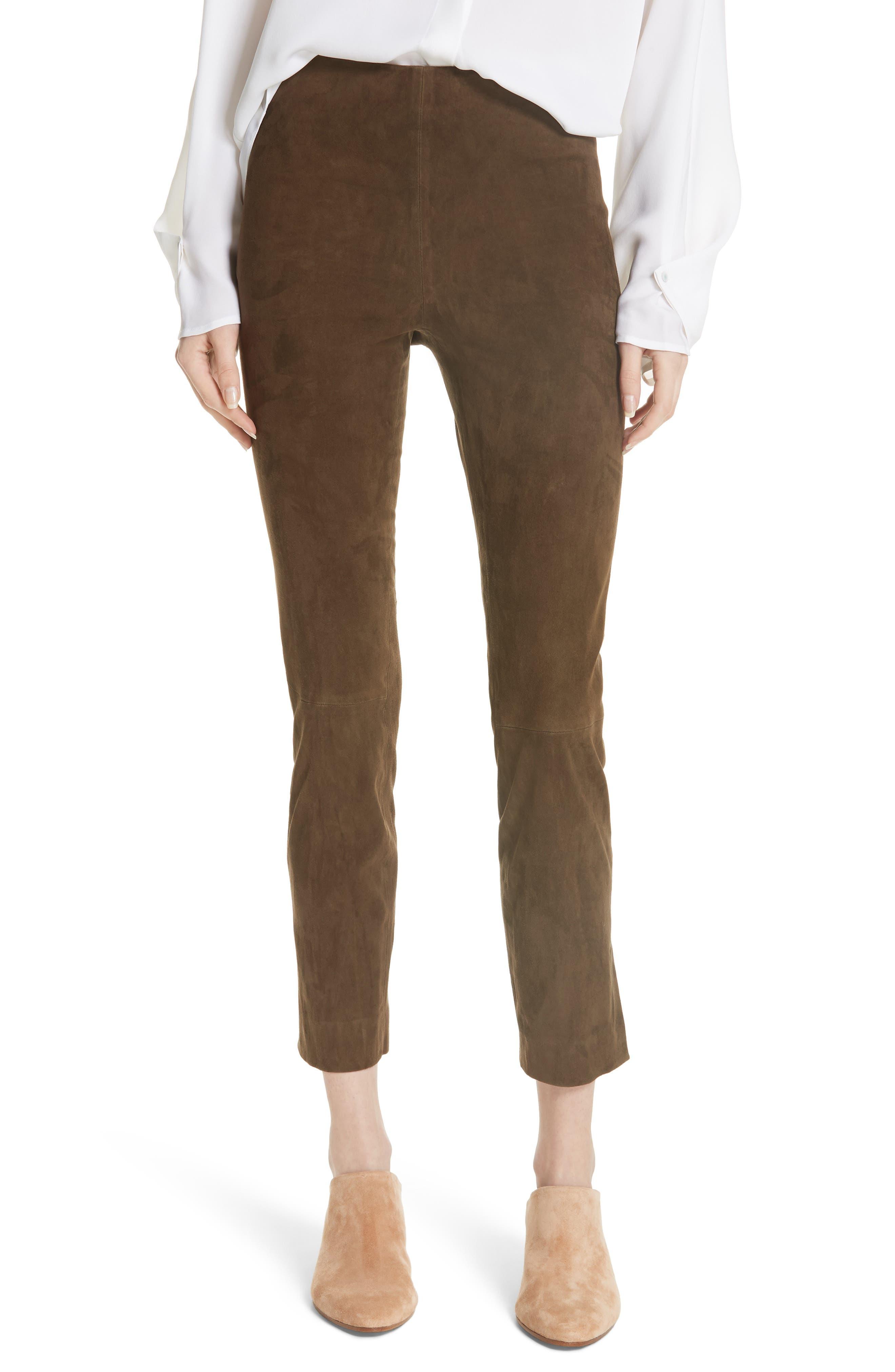 Stretch Suede Split Hem Crop Pants,                             Main thumbnail 1, color,                             Elmwood