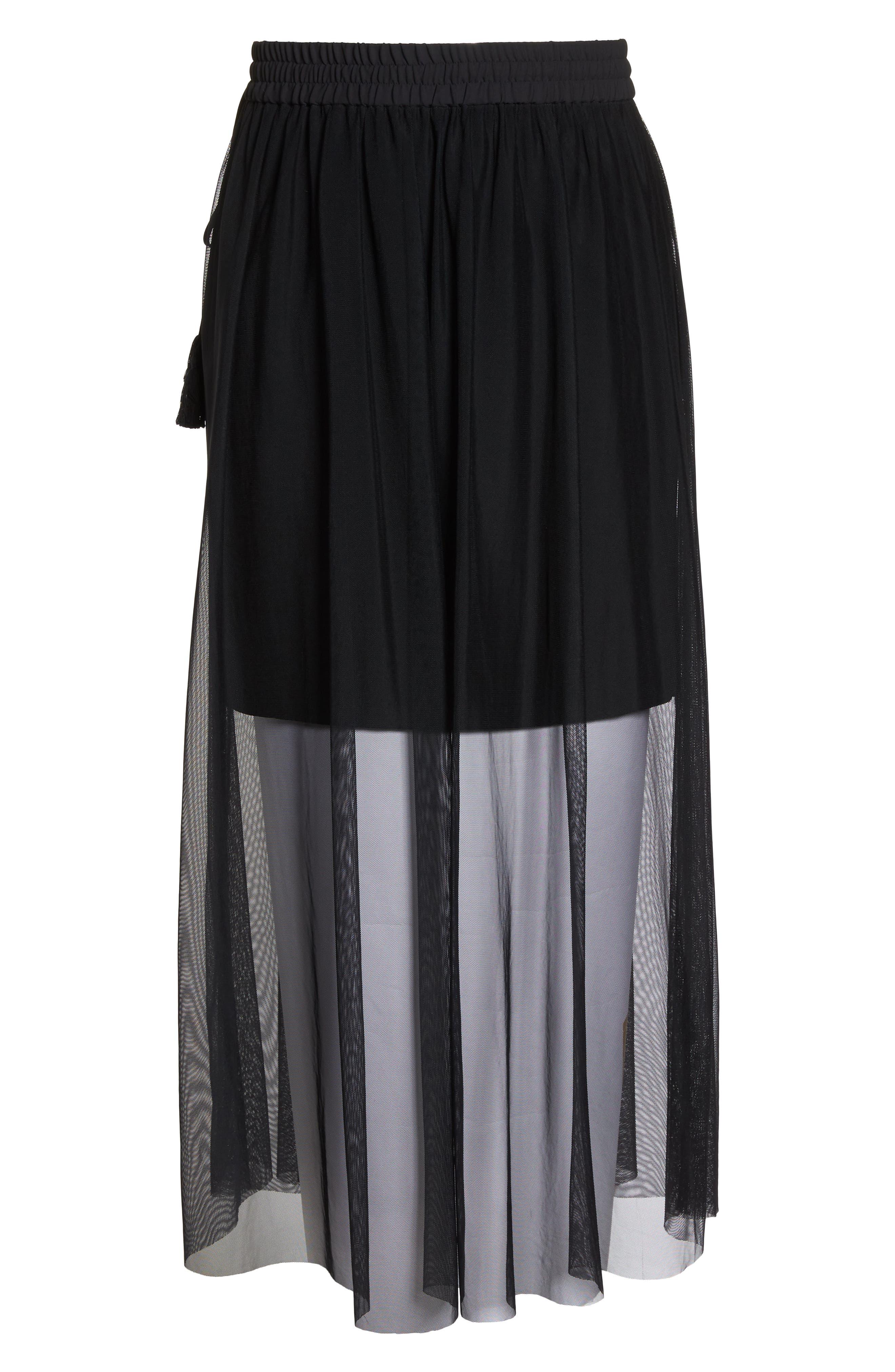 Side Tie Mesh Overlay Maxi Skirt,                             Alternate thumbnail 7, color,                             Rich Black