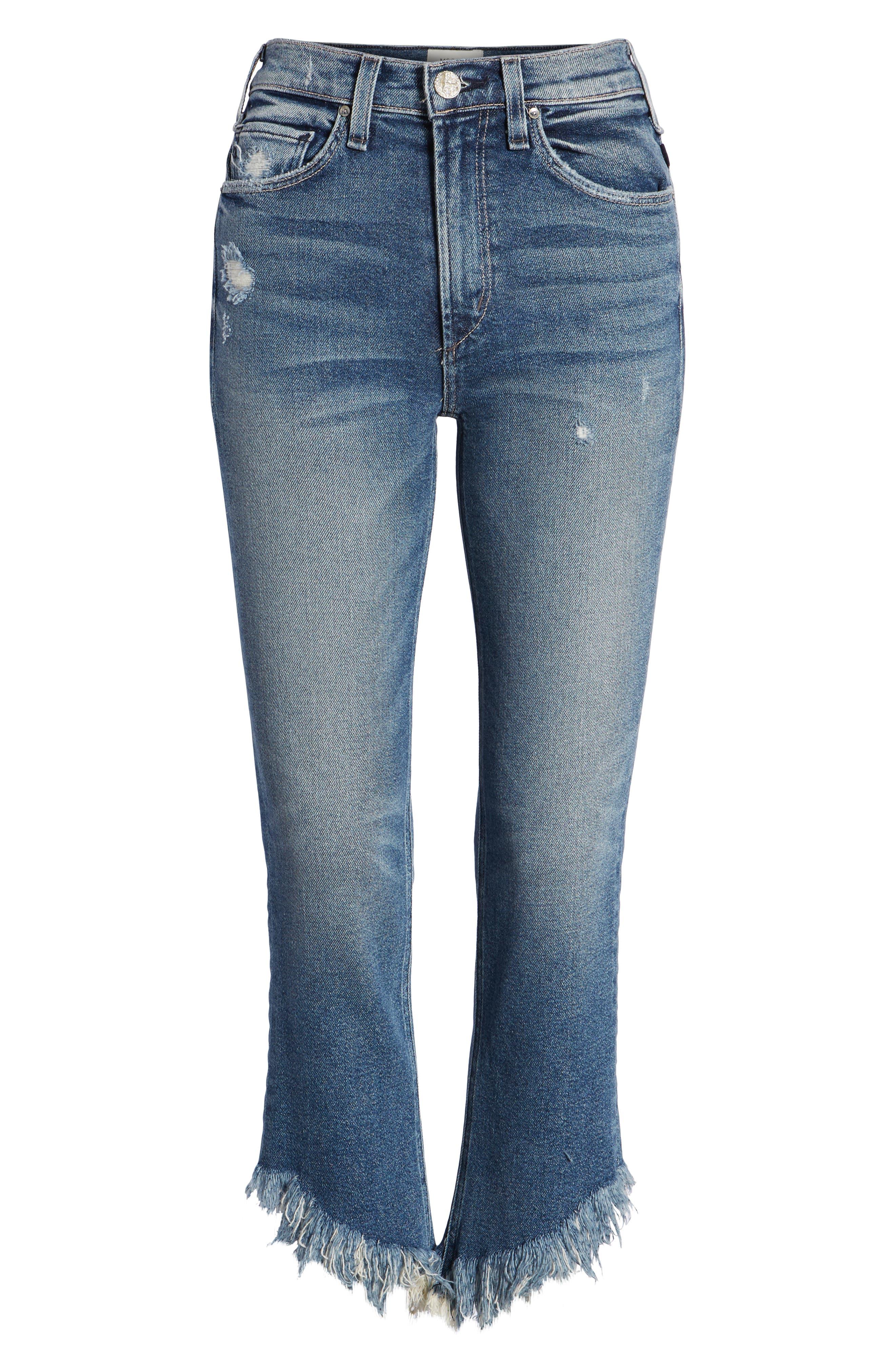 Valletta High Waist Crop Straight Leg Jeans,                             Alternate thumbnail 6, color,                             Goldi