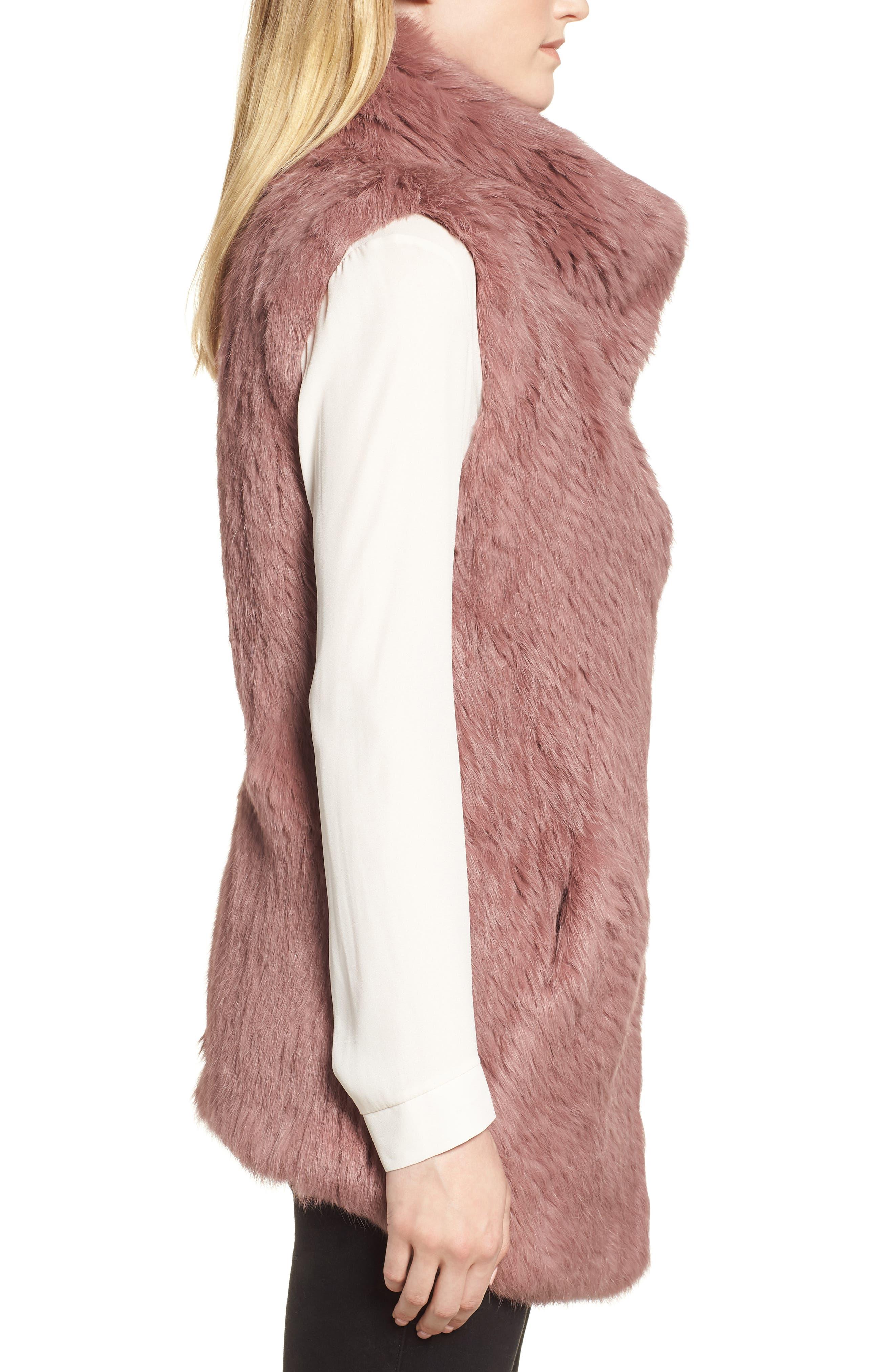 Long Drape Genuine Rabbit Fur Vest,                             Alternate thumbnail 3, color,                             Rose