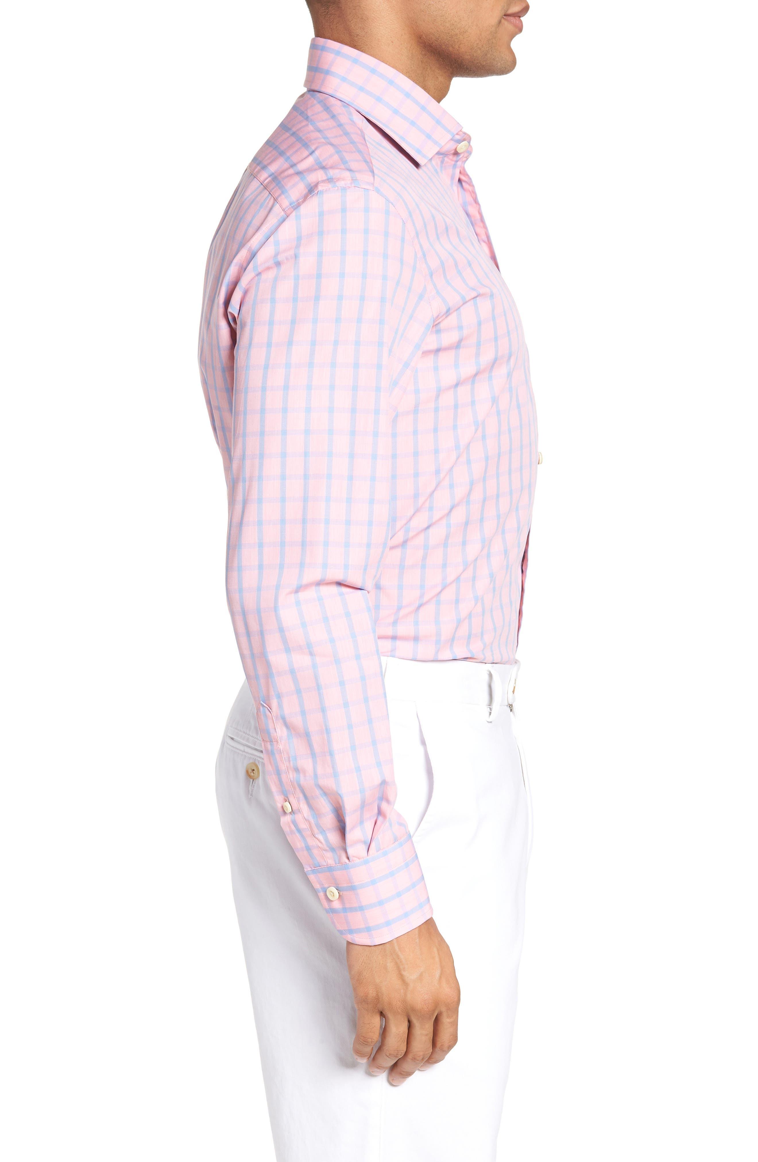 Hayden Trim Fit Windowpane Dress Shirt,                             Alternate thumbnail 3, color,                             Salmon