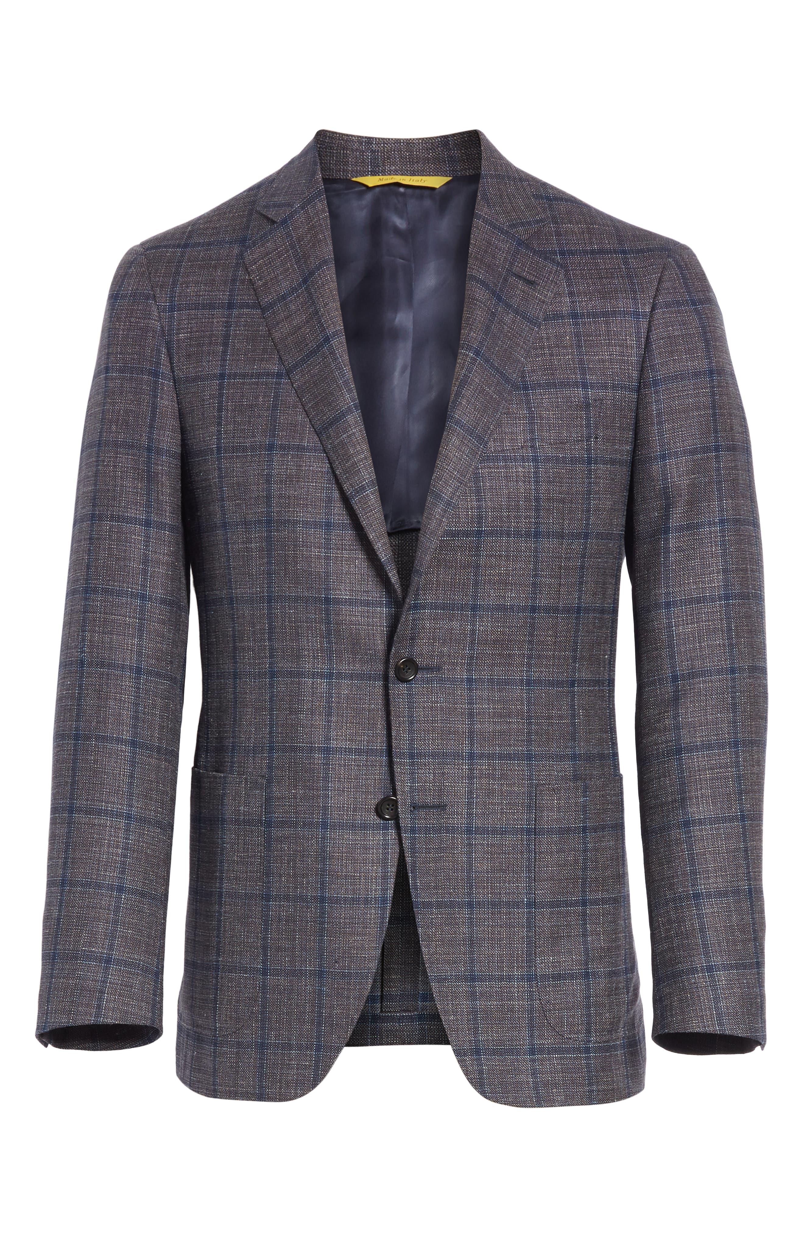 Kei Classic Fit Windowpane Wool Blend Sport Coat,                             Alternate thumbnail 6, color,                             Brown